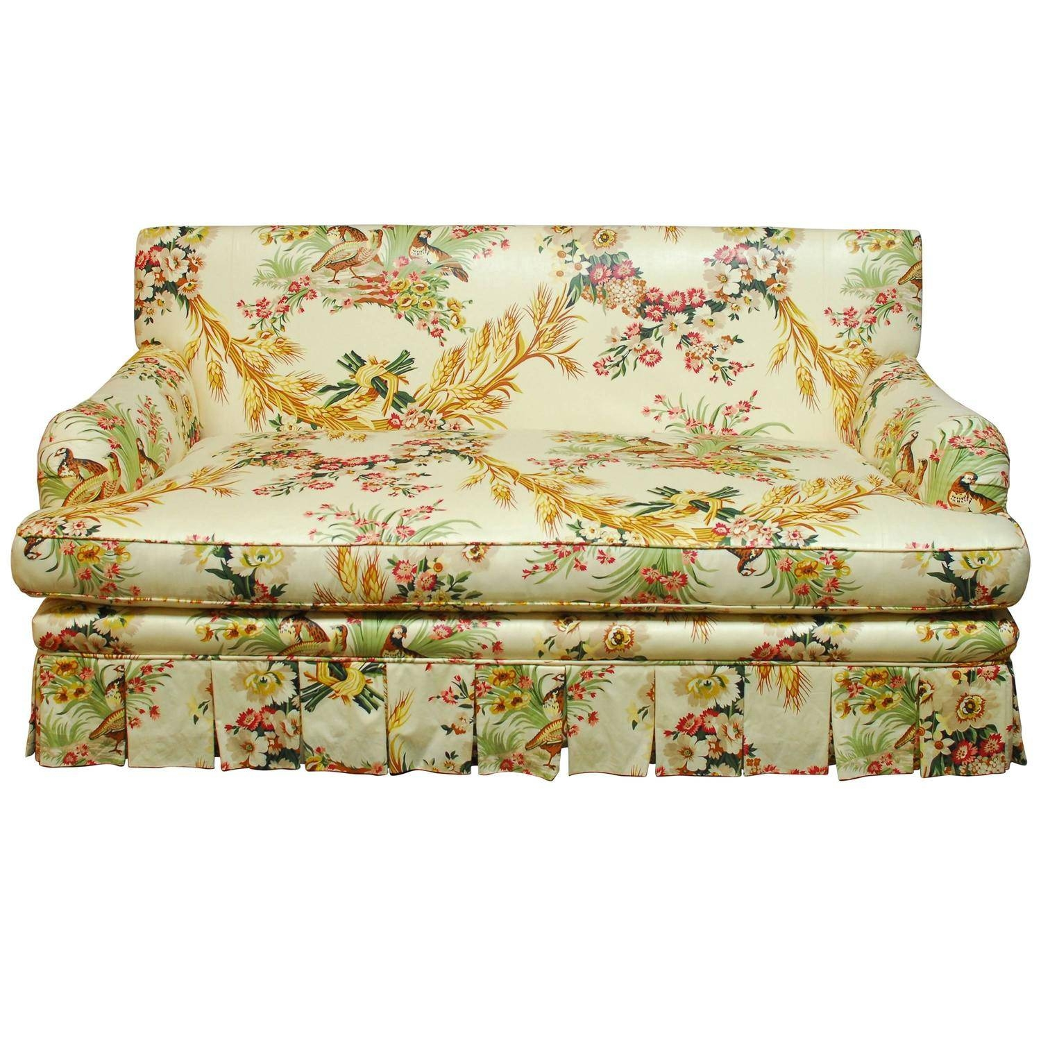 French Brunschwig And Fils Pheasant Toile Sofa At 1Stdibs intended for Yellow Chintz Sofas (Image 19 of 30)