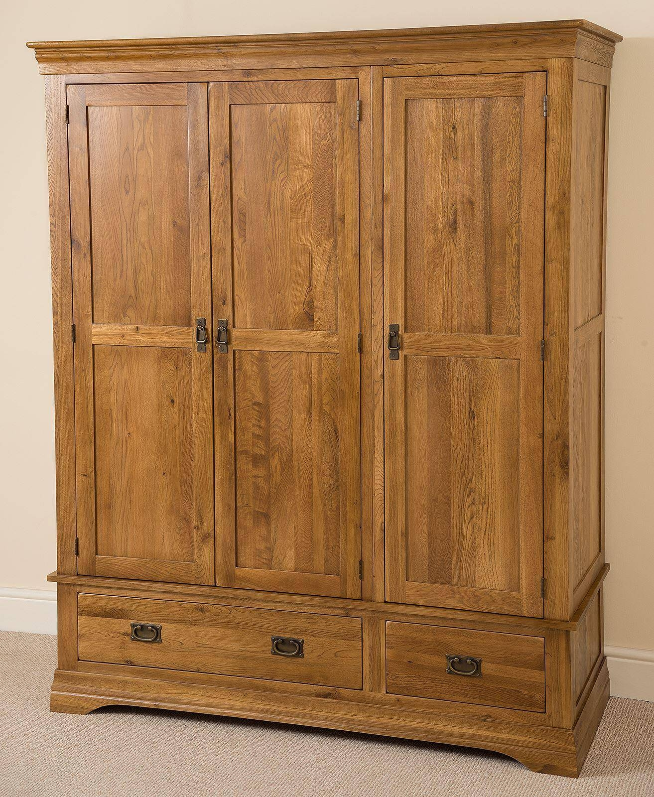 French Chateau Rustic Solid Oak Triple Wardrobe | Oak Furniture King with Cheap Triple Wardrobes (Image 2 of 15)