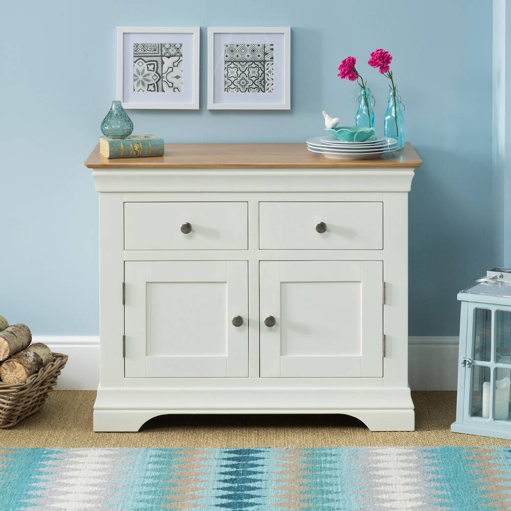 French Country Cream Painted Oak 2 Drawer 2 Door Sideboard inside French Country Sideboards (Image 11 of 30)