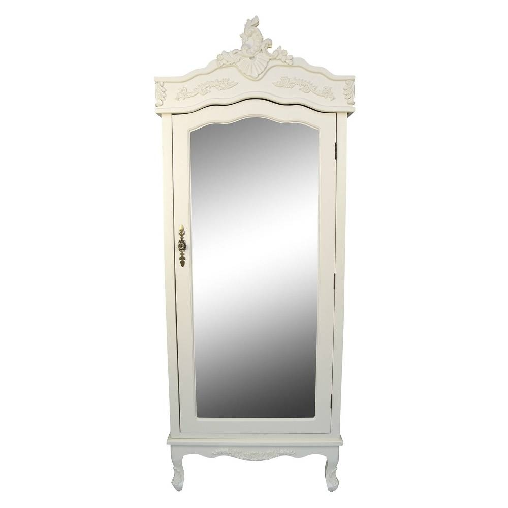 French Cream Chateau Shabby Chic Mirrored Single Door Armoire Pertaining To Single French Wardrobes (View 3 of 15)