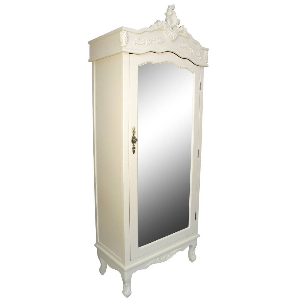 French Cream Chateau Shabby Chic Mirrored Single Door Armoire Throughout Cream Single Wardrobes (View 7 of 15)