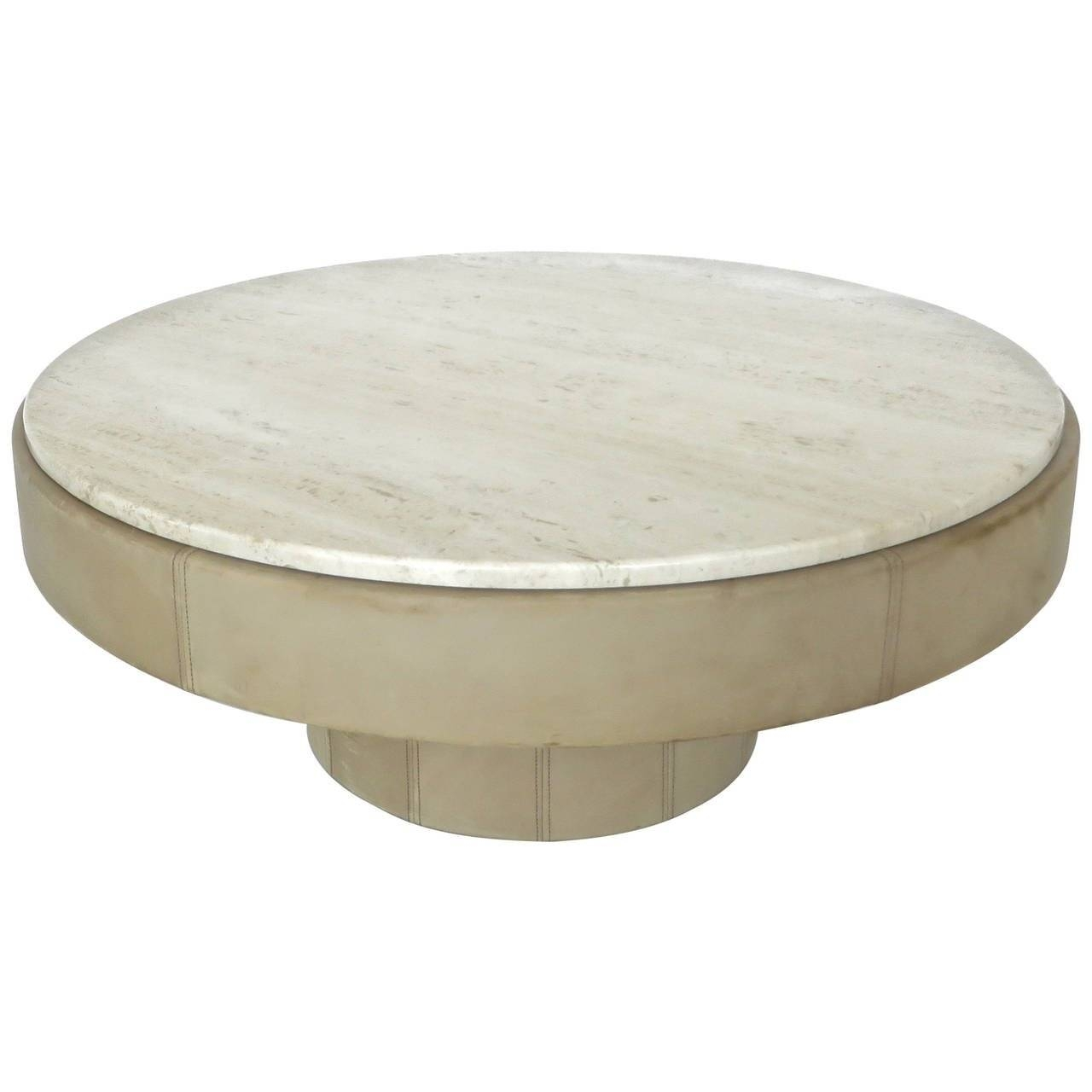 French Cream Leather And Travertine Marble Round Coffee Table At with regard to Marble Round Coffee Tables (Image 20 of 30)