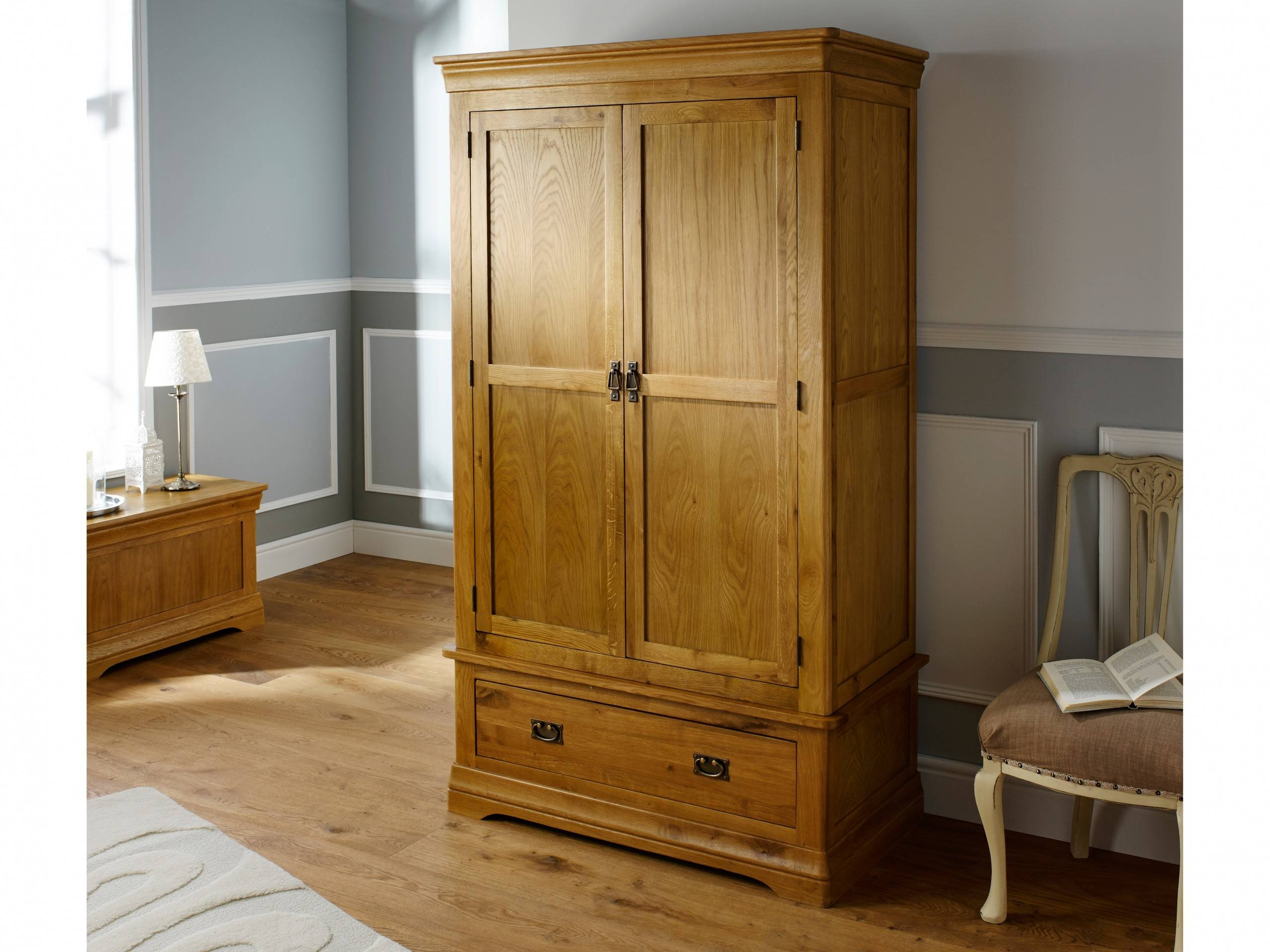 French Farmhouse Country Oak Double Wardrobe within Oak Wardrobes (Image 3 of 15)