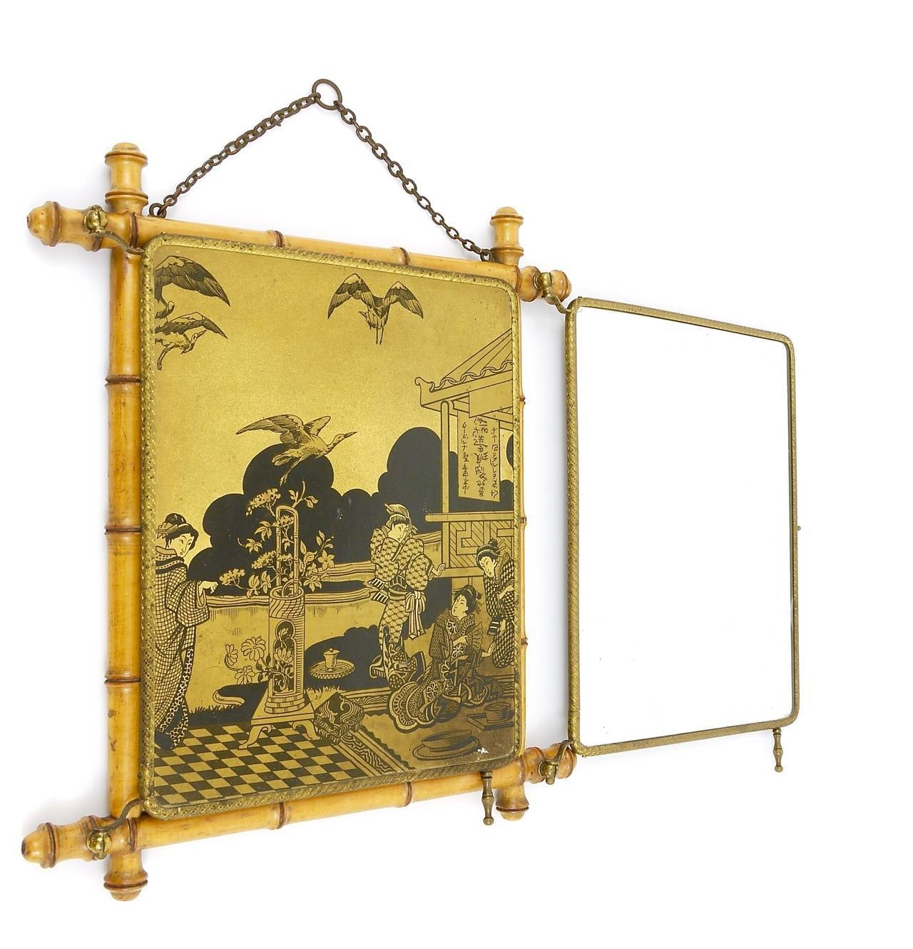 French Faux Bamboo And Brass Triple Vanity Table Mirror Or Wall regarding Triple Oval Mirrors (Image 9 of 25)