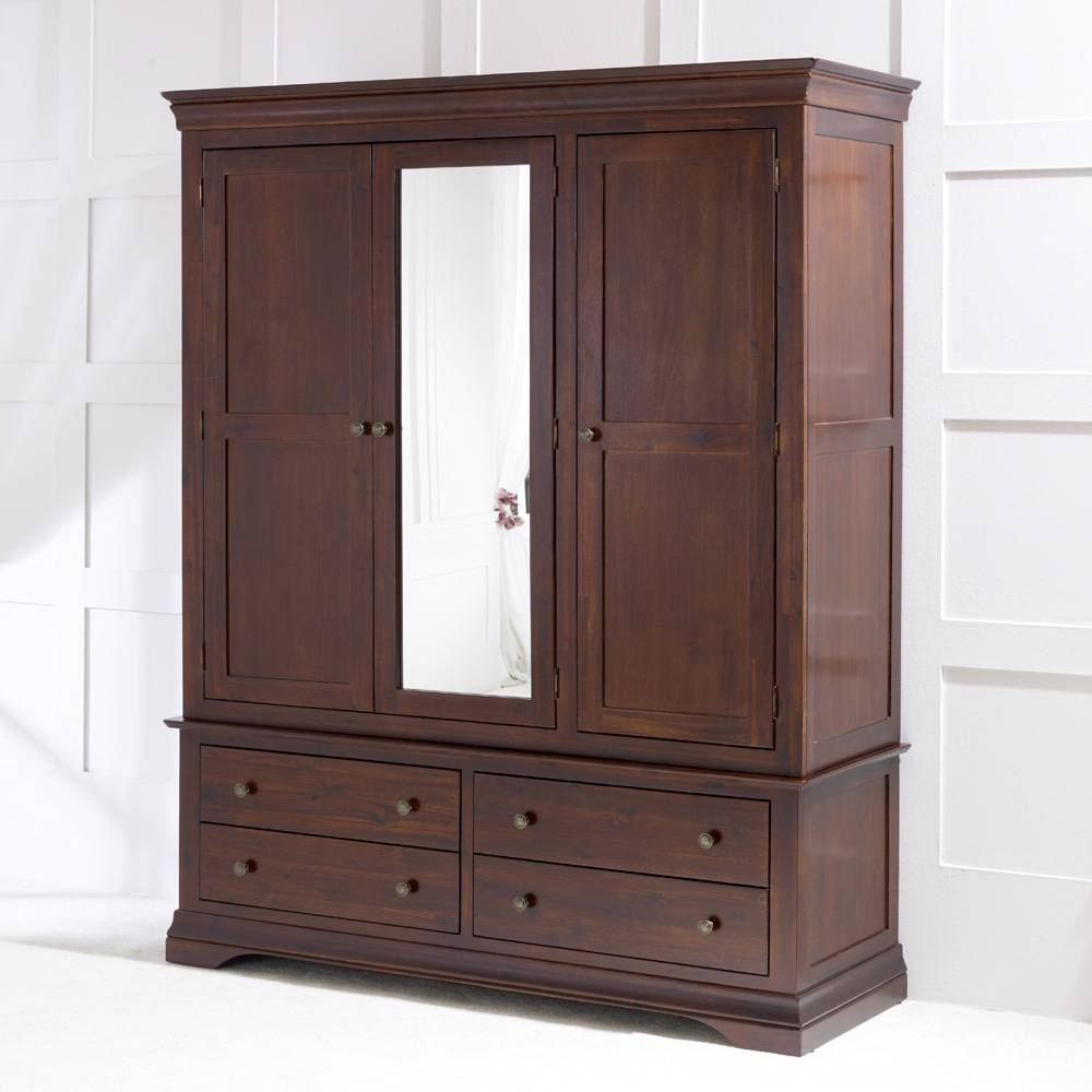 French Hardwood Mahogany Stained 3 Door Triple Wardrobe With Mirror in Triple Mirrored Wardrobes (Image 2 of 15)