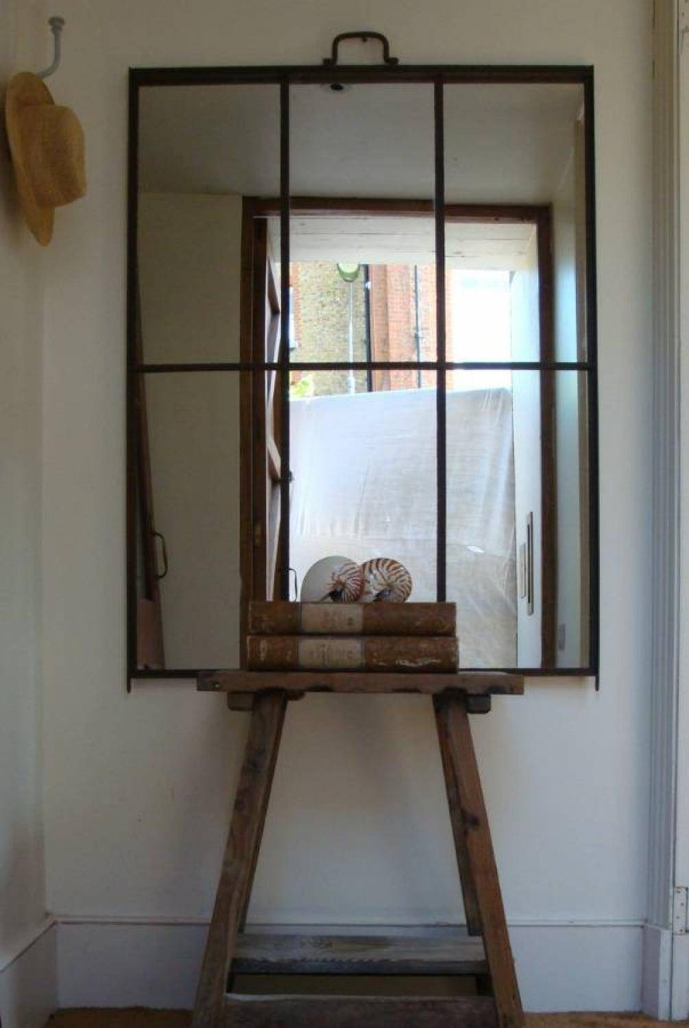 French Iron Framed Mirror With 6 Panels In Garden inside Iron Framed Mirrors (Image 10 of 25)