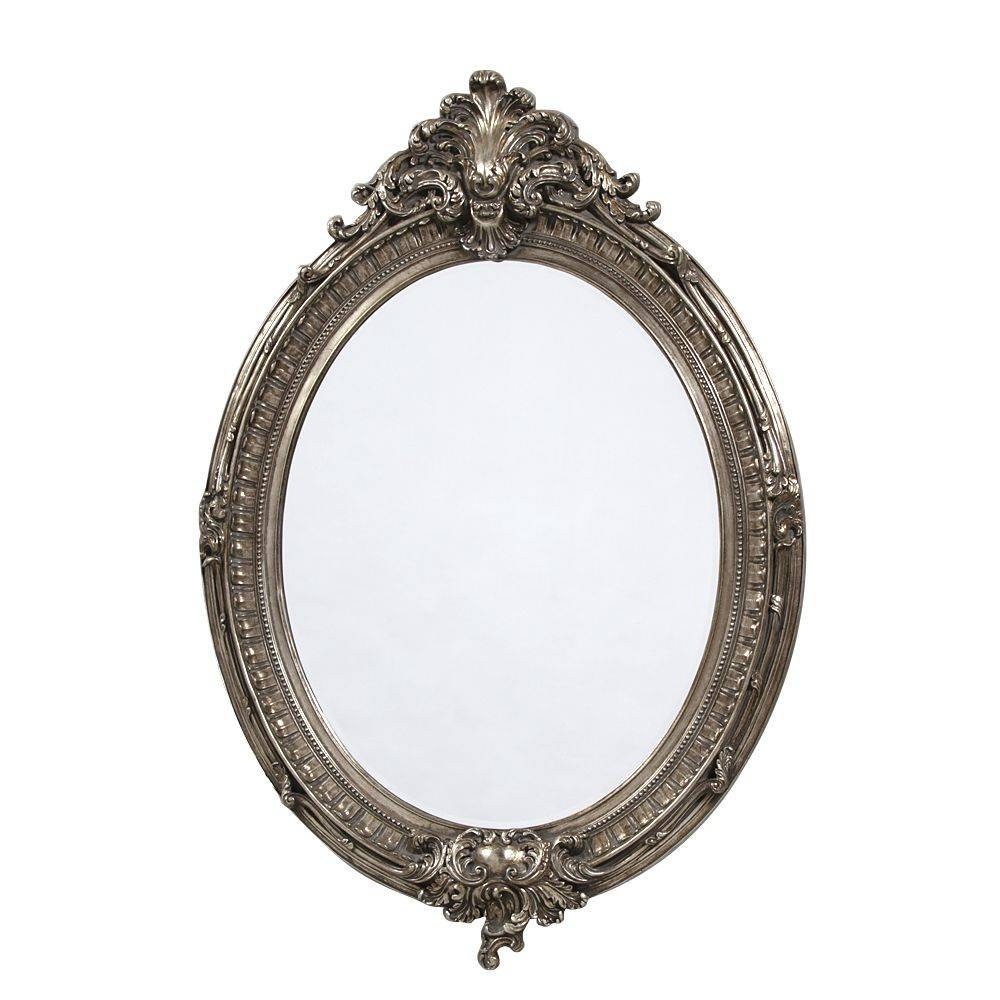 French Large Silver Oval Mirror intended for Oval Silver Mirrors (Image 7 of 25)