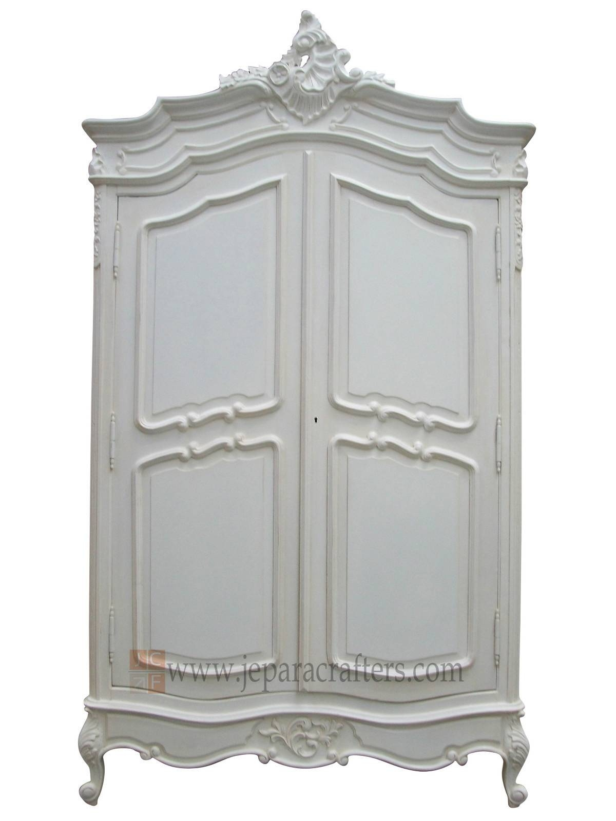 French Louis Furniture White Painted Finish Armoire Wardrobe Furniture intended for French Armoire Wardrobes (Image 6 of 15)