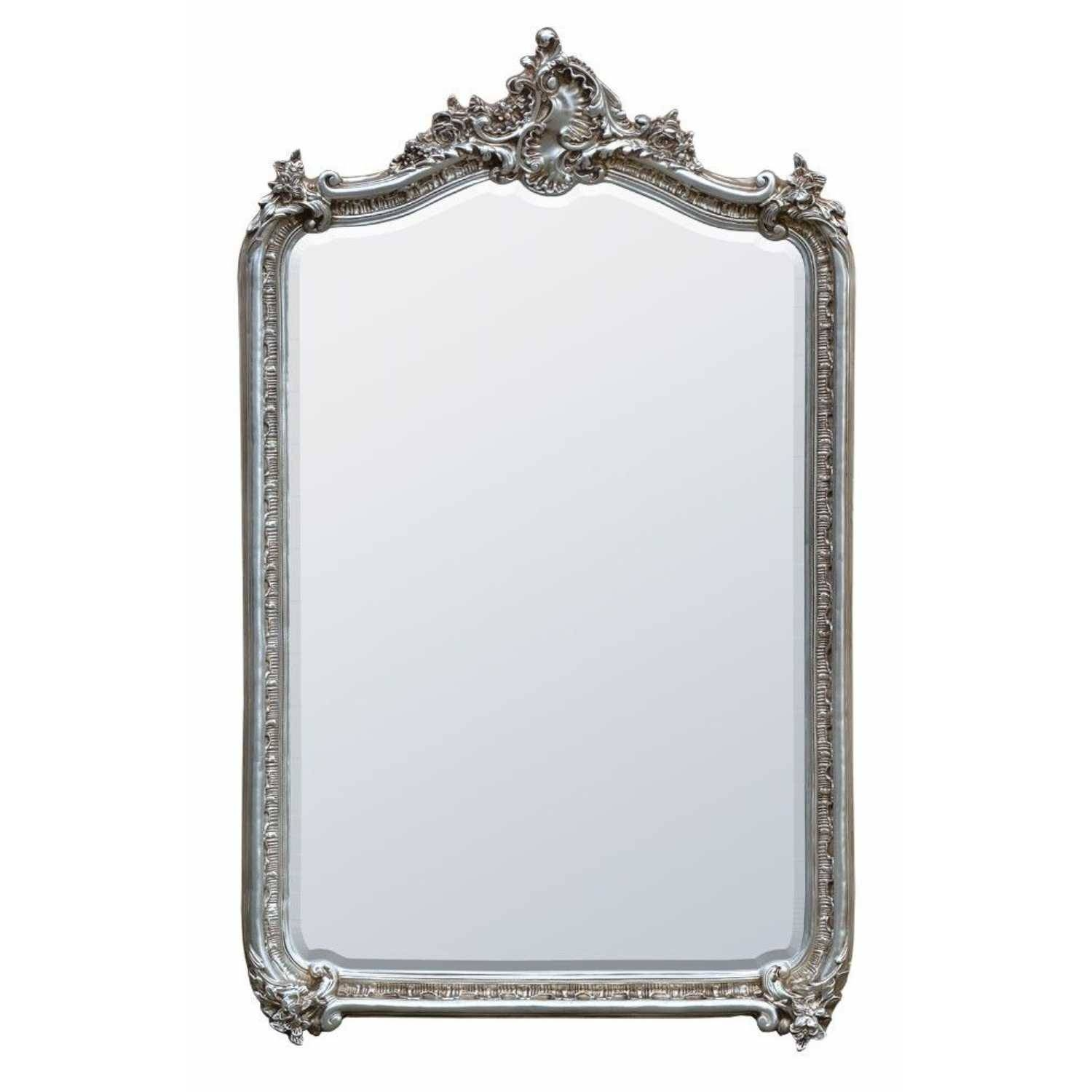 French Louis Silver Bevelled Mirror intended for Silver Bevelled Mirrors (Image 15 of 25)