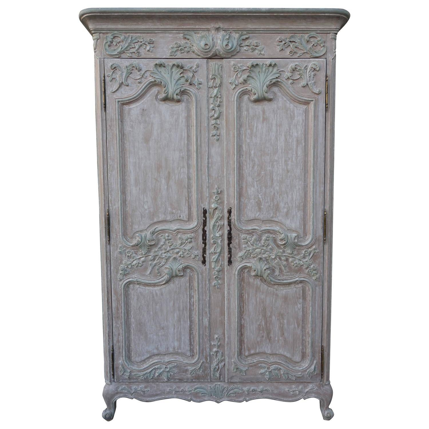French Louis Xv Style Carved Painted Armoire | Melissa Levinson pertaining to French Style Wardrobes (Image 4 of 15)