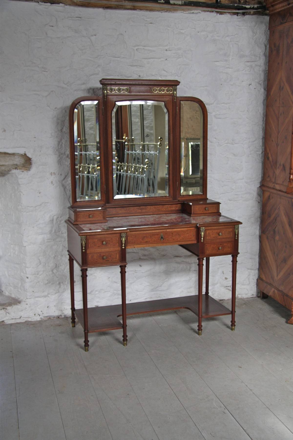 French Louis Xv1 Style Three Mirror Fruitwood Dressing Table intended for French Style Dressing Table Mirrors (Image 11 of 25)