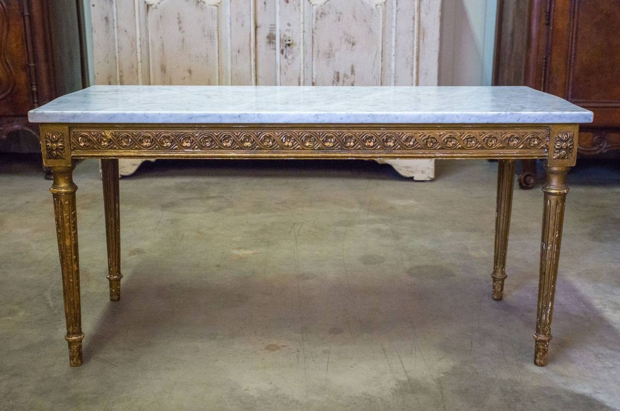 French Louis Xvi Style Gilded Coffee Table With Marble Top For inside French Style Coffee Tables (Image 11 of 30)