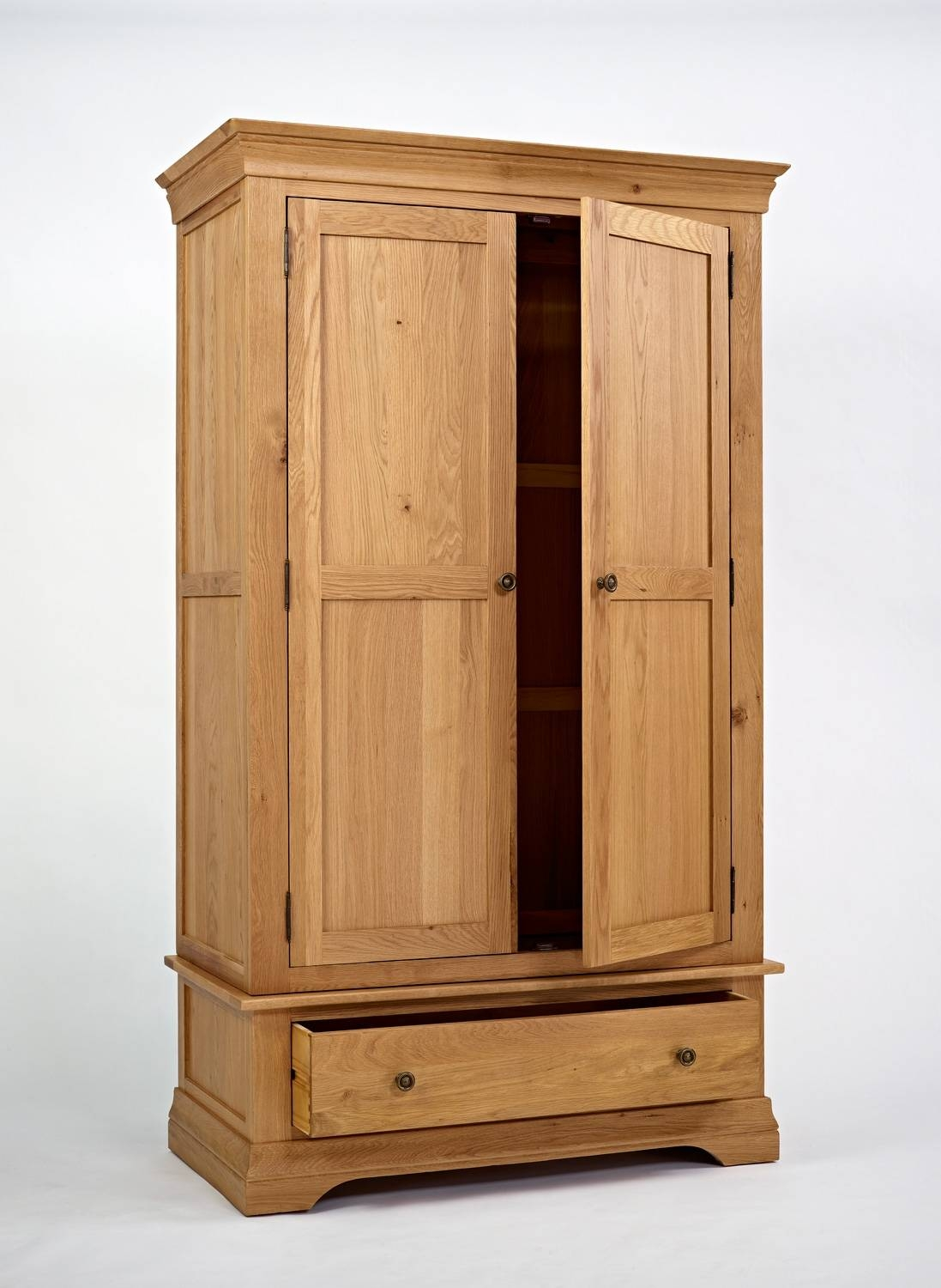 French Modern Oak Wardrobe With Drawer | Hampshire Furniture with Large Oak Wardrobes (Image 1 of 15)