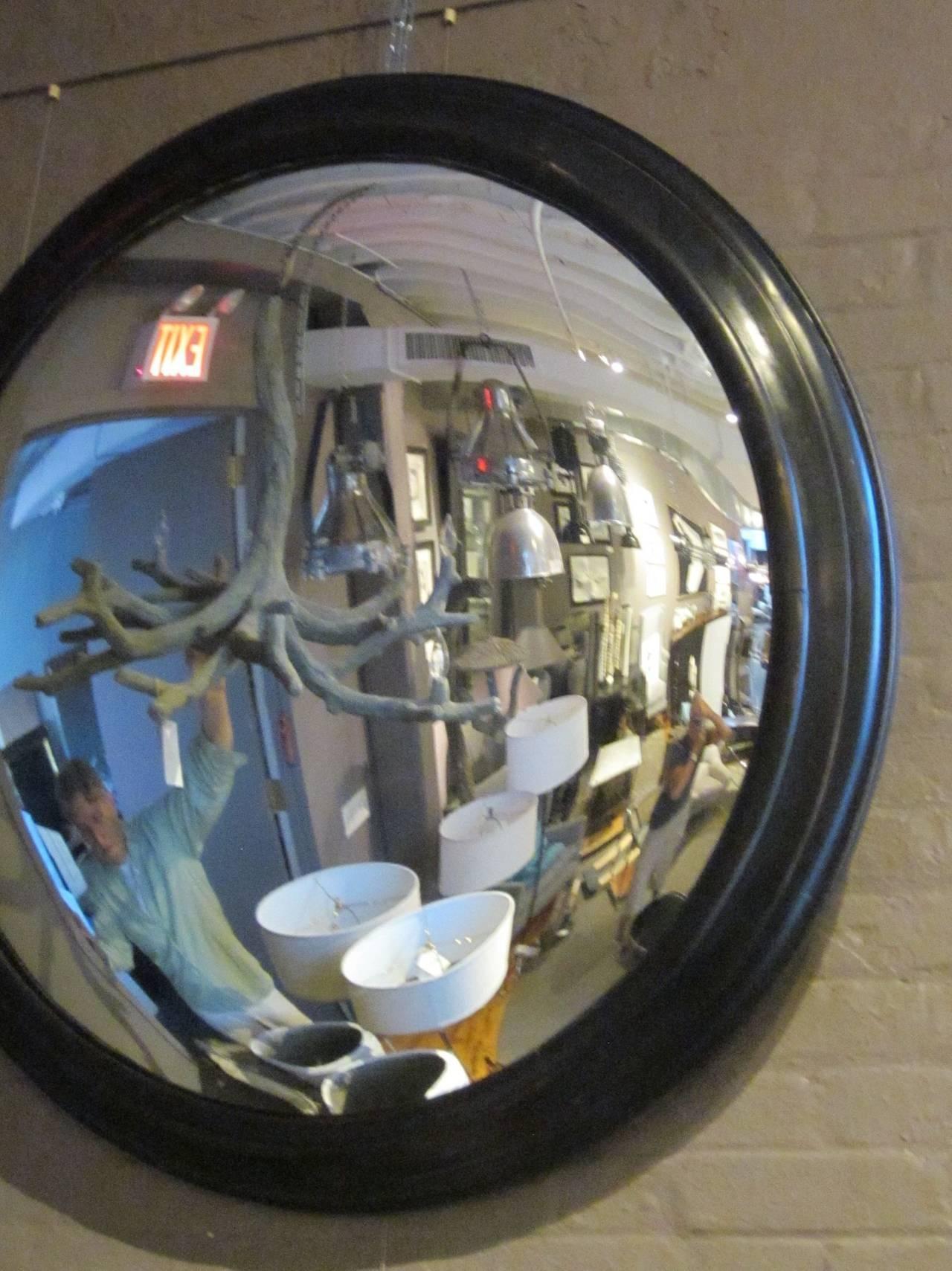 French Napoleon Iii Extra-Large Round Convex Mirror In Black Frame regarding Round Convex Mirrors (Image 12 of 25)