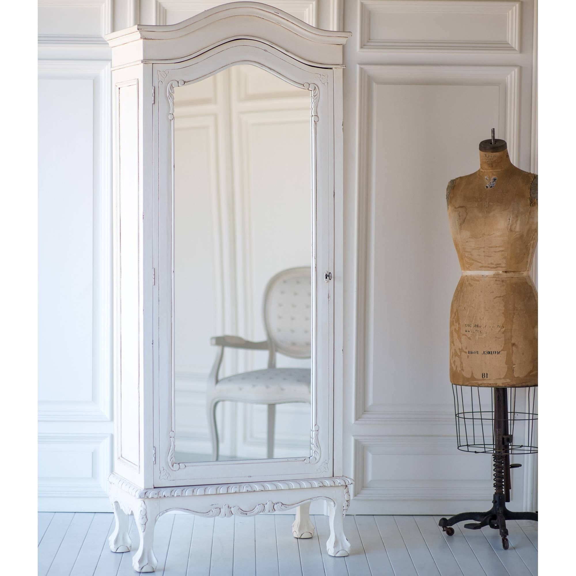 French Petite Wardrobe In Vintage Whitethe Beautiful Bed Company for Shabby Chic Wardrobes For Sale (Image 6 of 15)