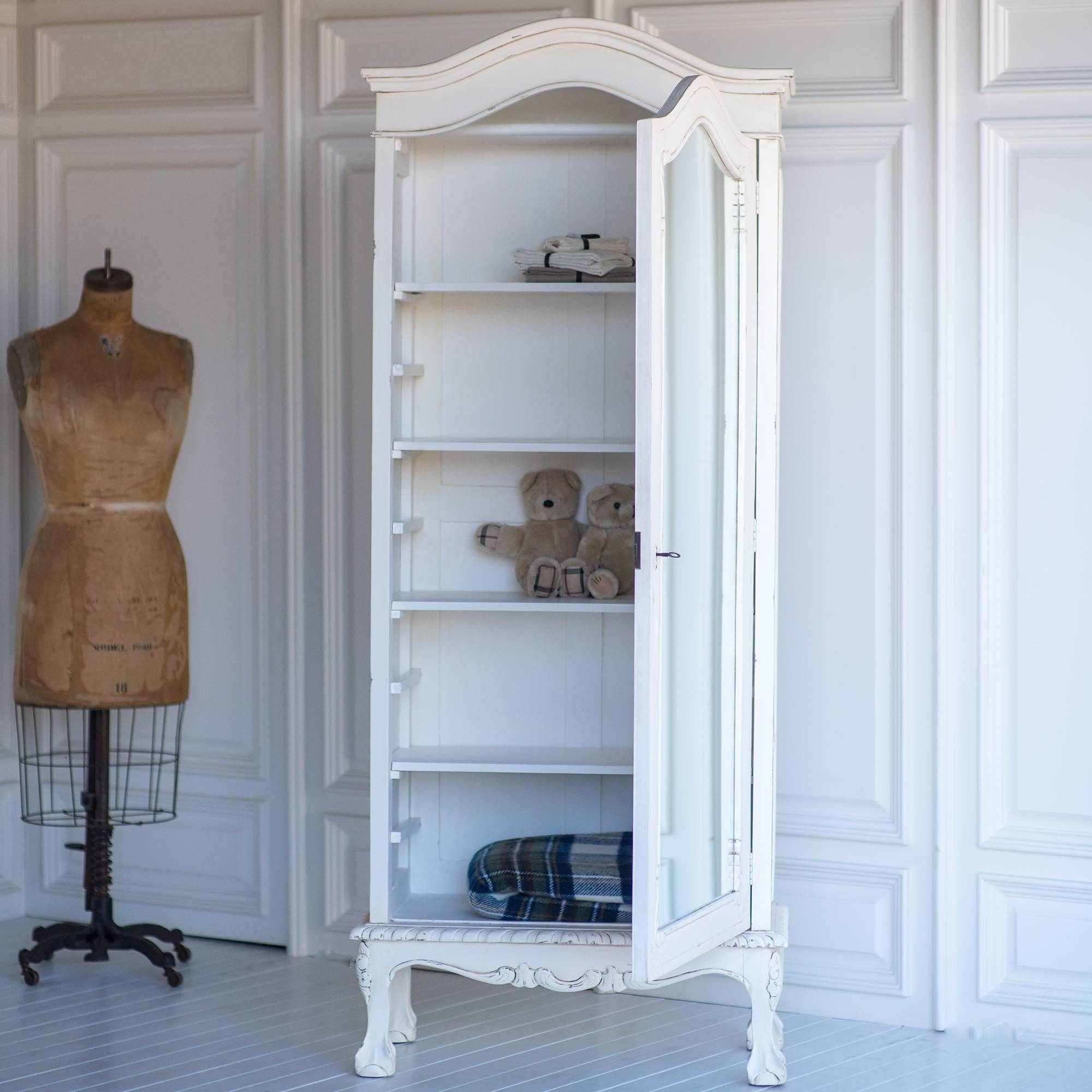 French Petite Wardrobe In Vintage Whitethe Beautiful Bed Company pertaining to Shabby Chic Wardrobes for Sale (Image 7 of 15)