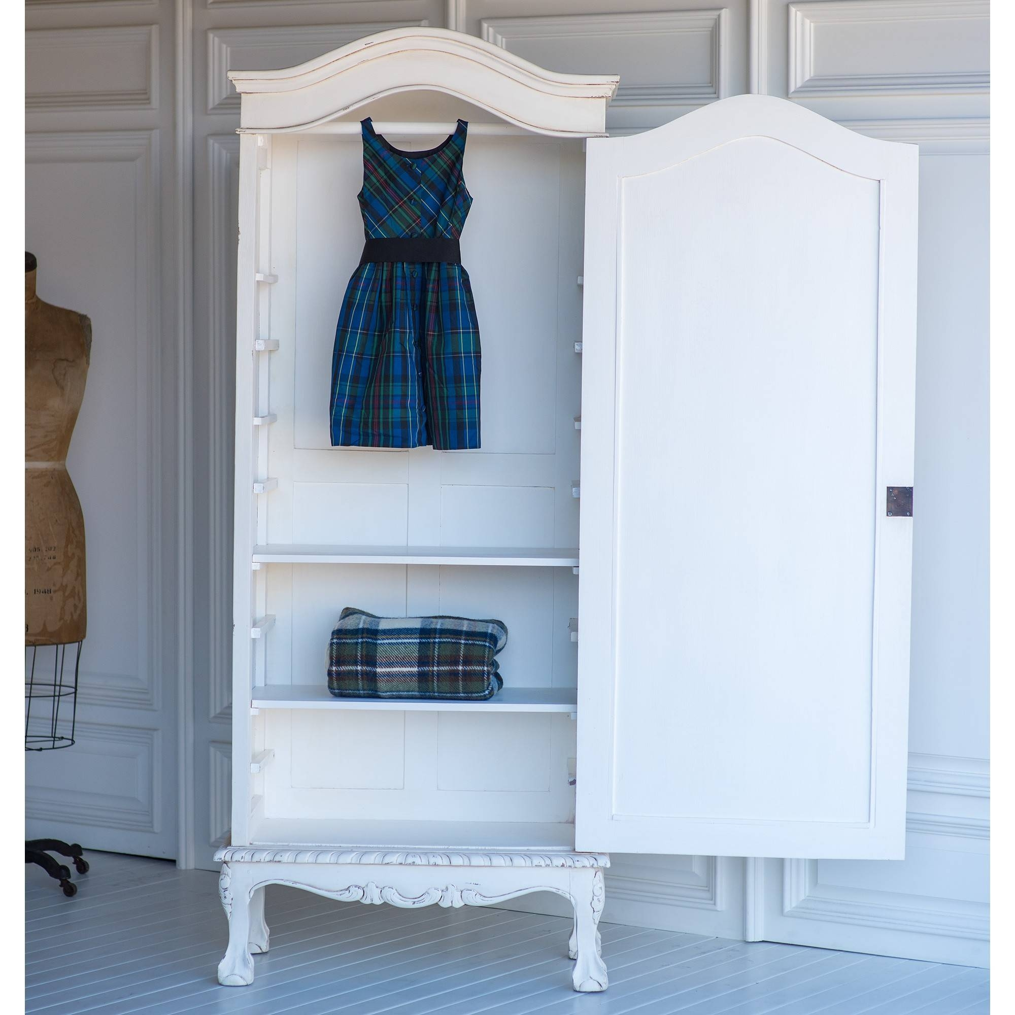 French Petite Wardrobe In Vintage Whitethe Beautiful Bed Company Throughout White Vintage Wardrobes (View 8 of 15)