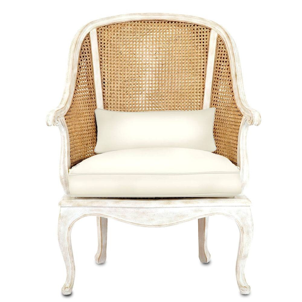 French Shabby Cane Arm Chair - Natural Cane And Antique White regarding White Cane Sofas (Image 15 of 30)