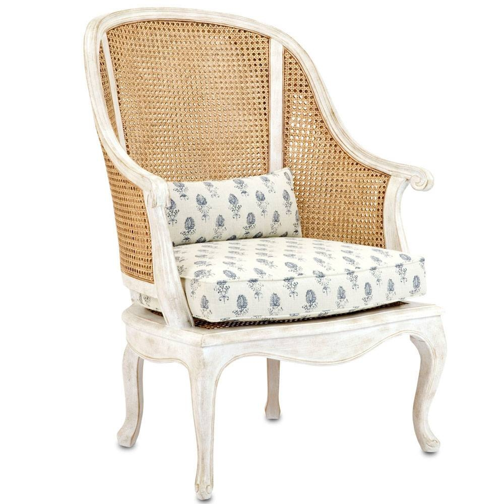 French Shabby Cane Arm Chair - Natural Cane And Antique White with White Cane Sofas (Image 16 of 30)