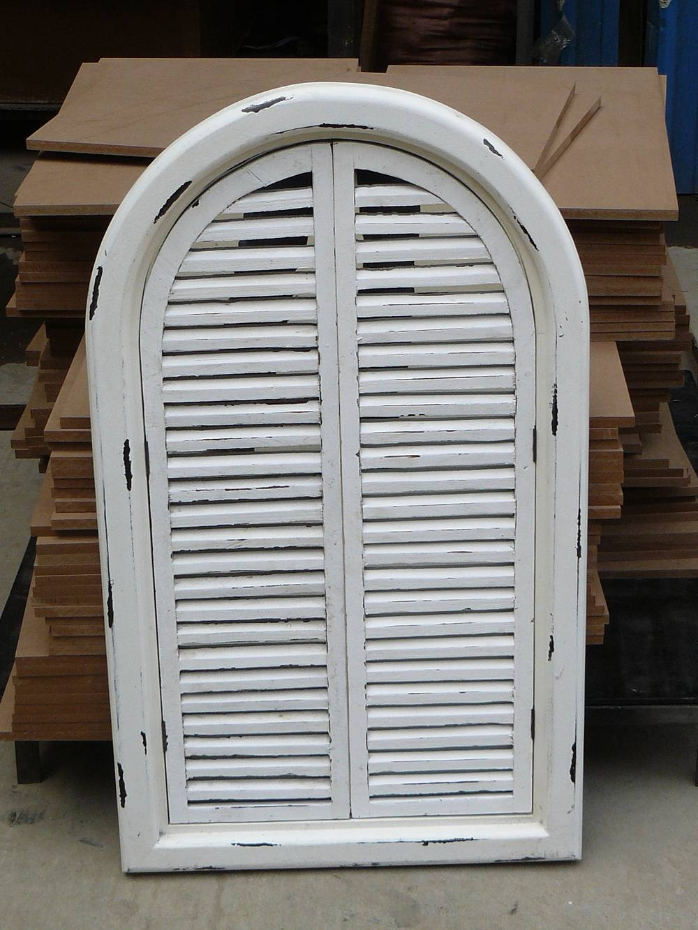 French Shabby Chic Antique Vintage Style White Wall Mirror With intended for Wall Mirrors With Shutters (Image 11 of 25)