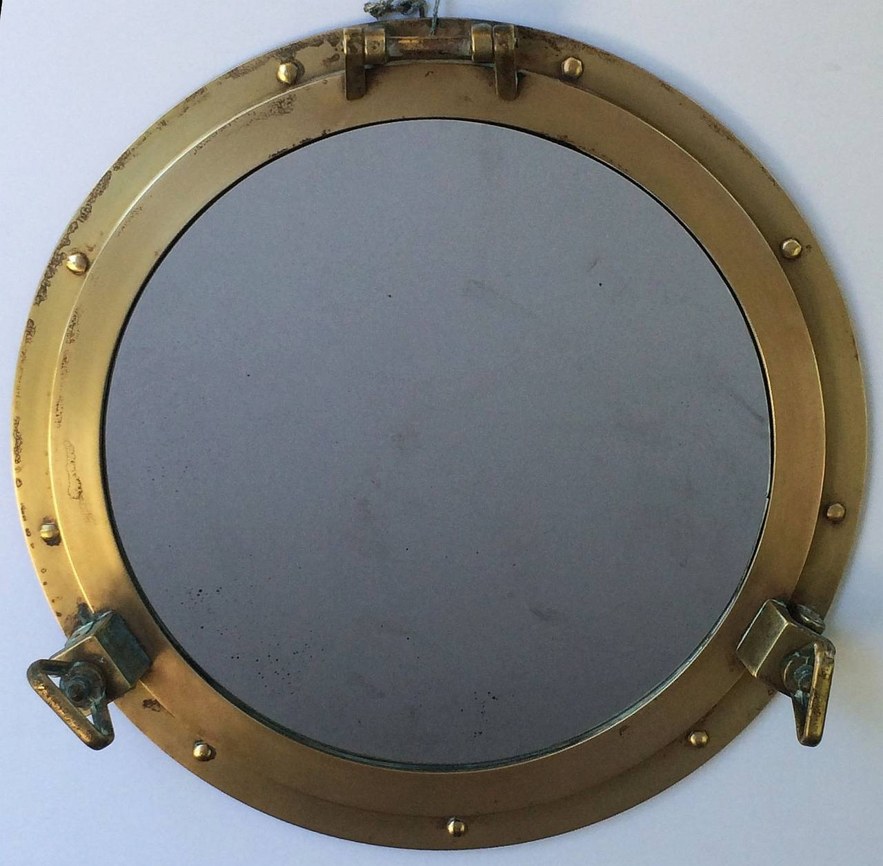 "French Ship's Porthole Mirrors Of Brass (18 1/2"" Diameter) At 1Stdibs inside Porthole Style Mirrors (Image 7 of 25)"