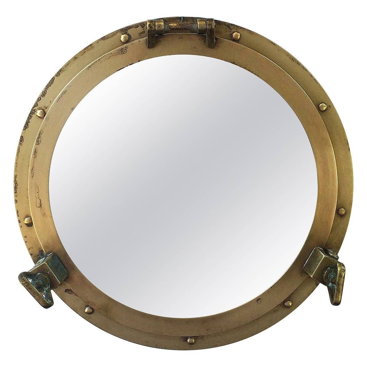 "French Ship's Porthole Mirrors Of Brass (18 1/2"" Diameter) At 1Stdibs with Porthole Style Mirrors (Image 8 of 25)"