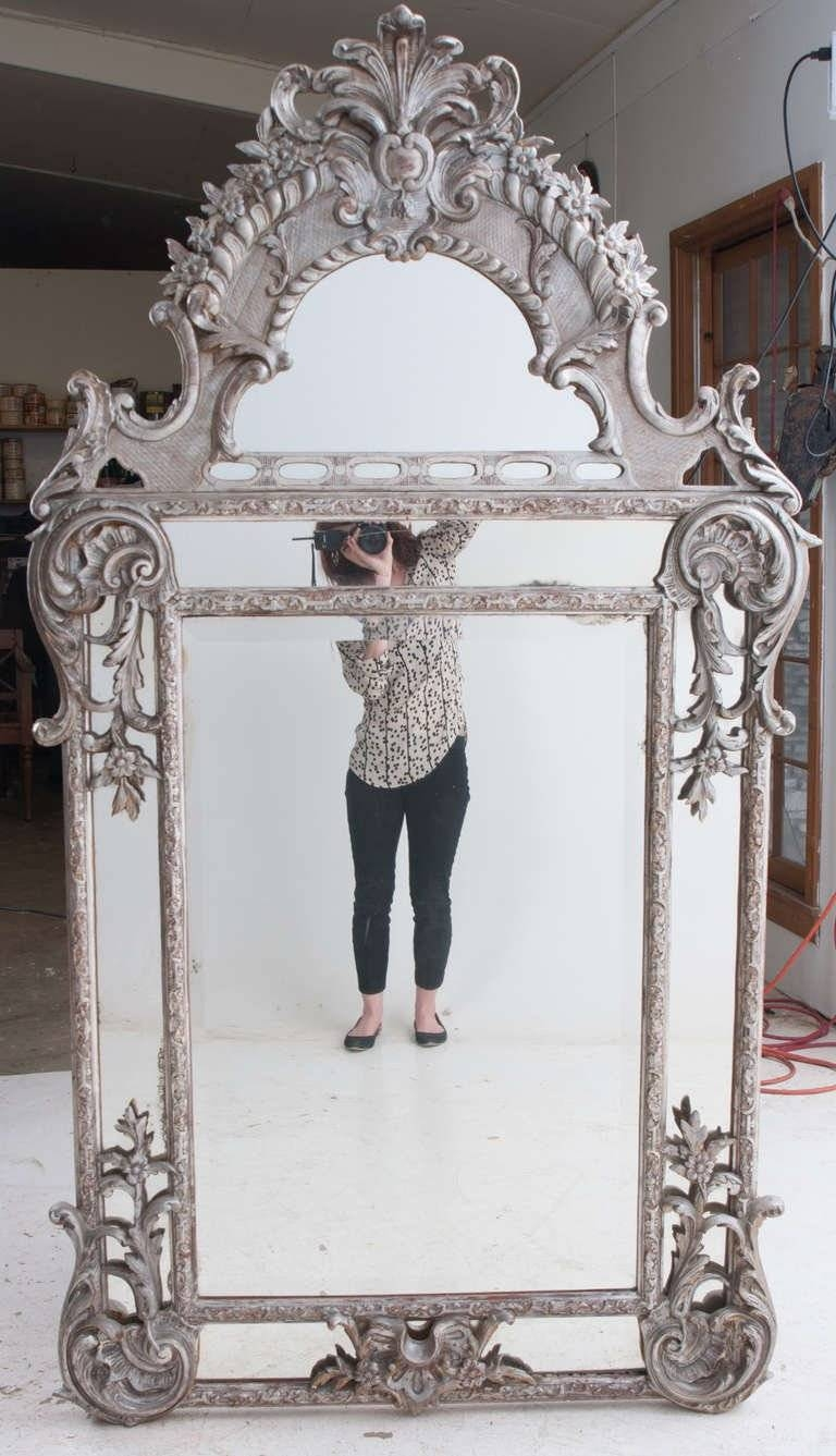 French Silver Gilt Baroque Parclouse Mirror For Sale At 1Stdibs with French Wall Mirrors (Image 9 of 25)