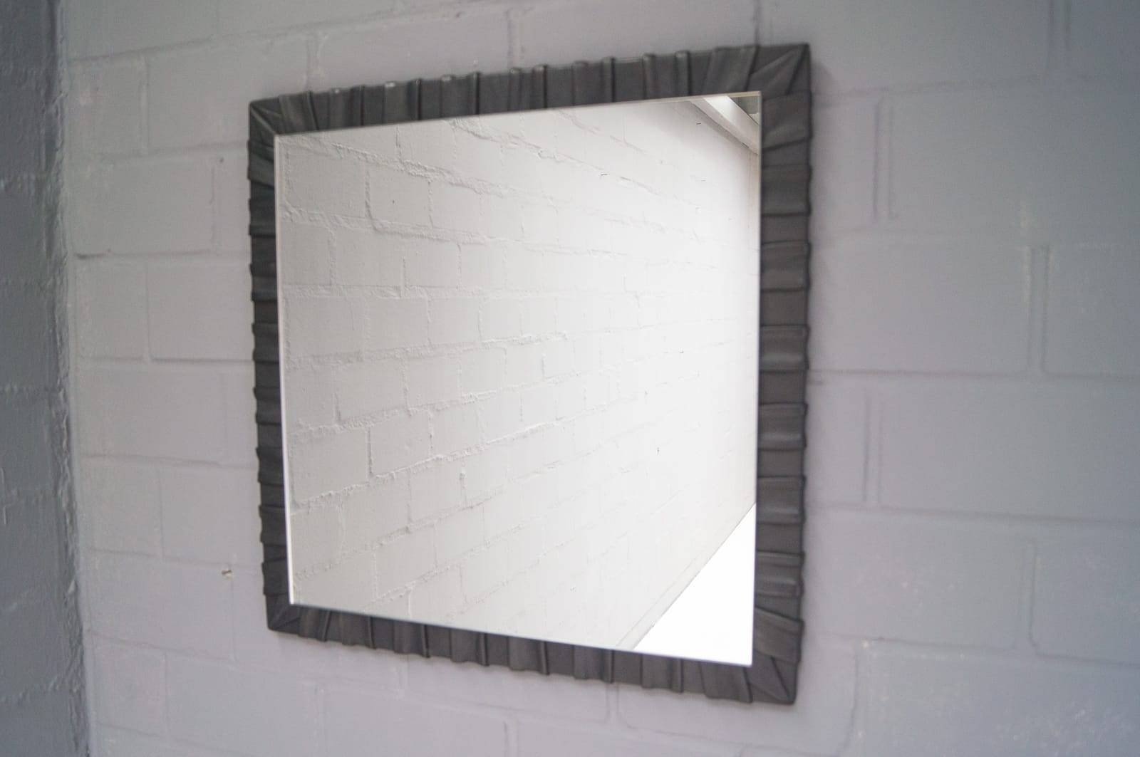 French Square Leather Wall Mirror, 1960S For Sale At Pamono For Leather Wall Mirrors (View 16 of 25)