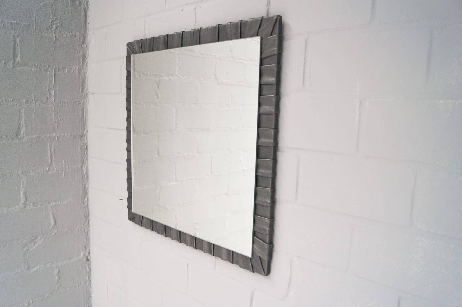 French Square Leather Wall Mirror, 1960S For Sale At Pamono with Square Wall Mirrors (Image 11 of 25)