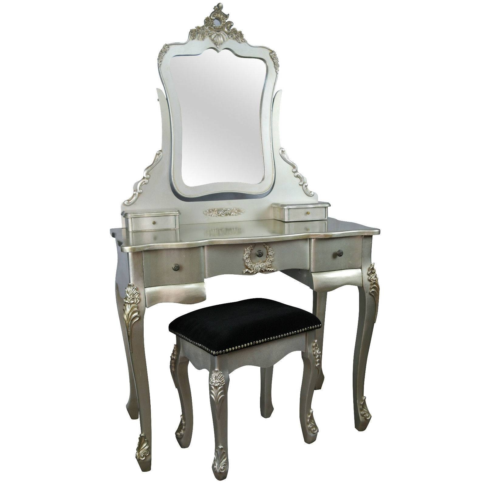 French Style Antique Silver Dressing Table And Stool Furniture pertaining to French Style Dressing Table Mirrors (Image 12 of 25)