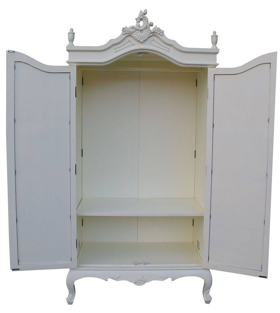 French Style Double Armoire Wardrobe With Mirrored Doors – Cream Inside Cream French Wardrobes (View 6 of 15)