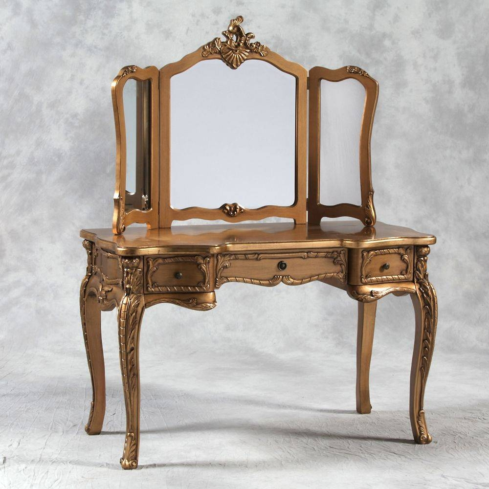 French Style Dressing Table With Mirror In Cream intended for French Style Dressing Table Mirrors (Image 17 of 25)