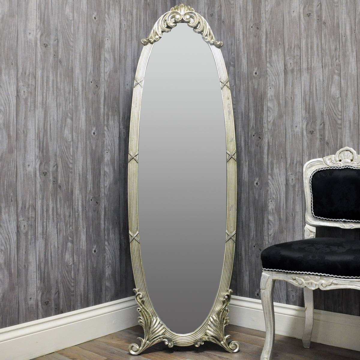 French Style Silver Oval Cheval Mirror - Acacia Trading (Leeds) Ltd inside Silver Cheval Mirrors (Image 15 of 25)