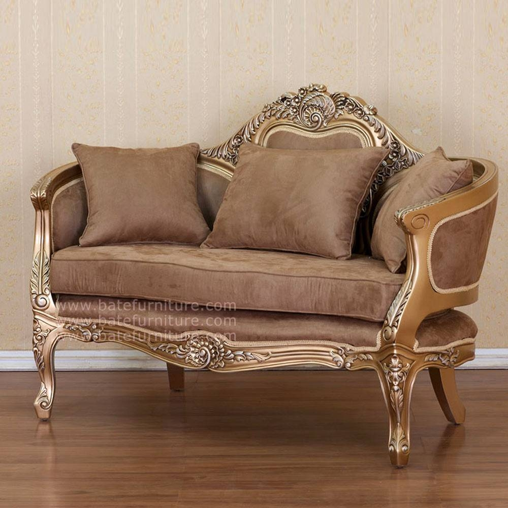 French Style Sofa 2 Seater Gold   Indonesian French Furniture within French Style Sofa (Image 10 of 25)