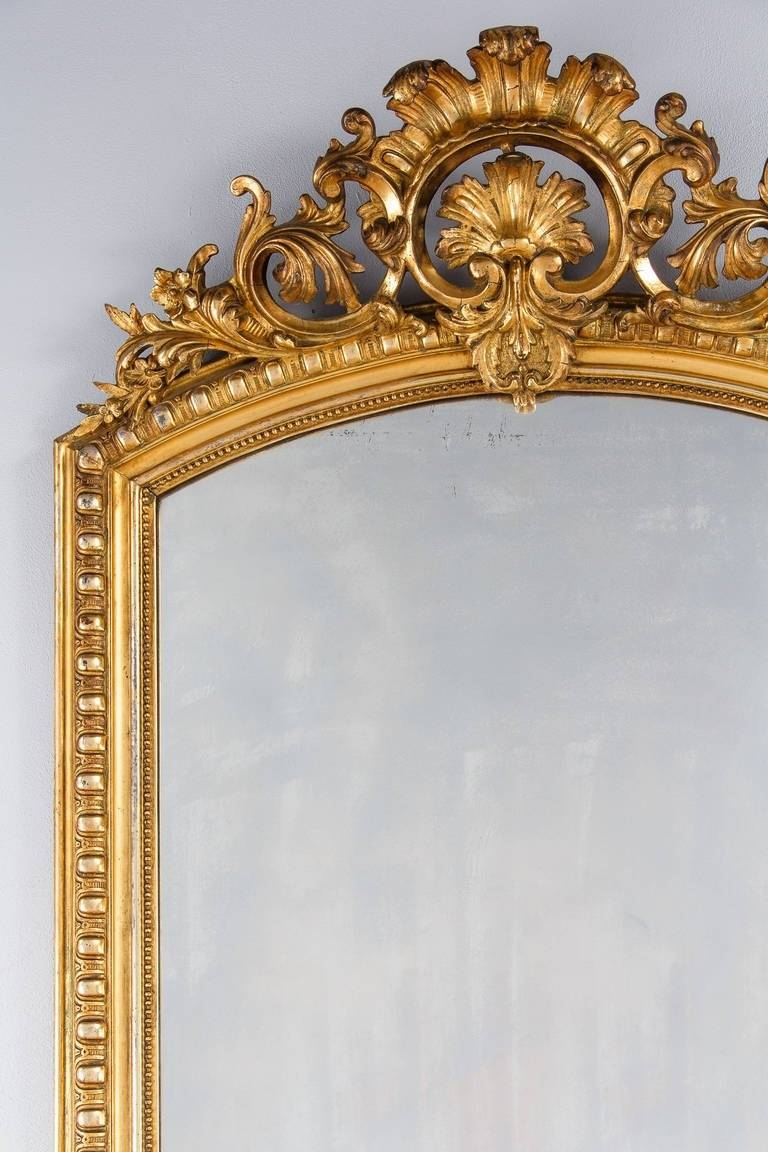 French Transition Louis Xv To Louis Xvi Gilded Mirror, Mid-1800S intended for Antique Gilded Mirrors (Image 23 of 25)