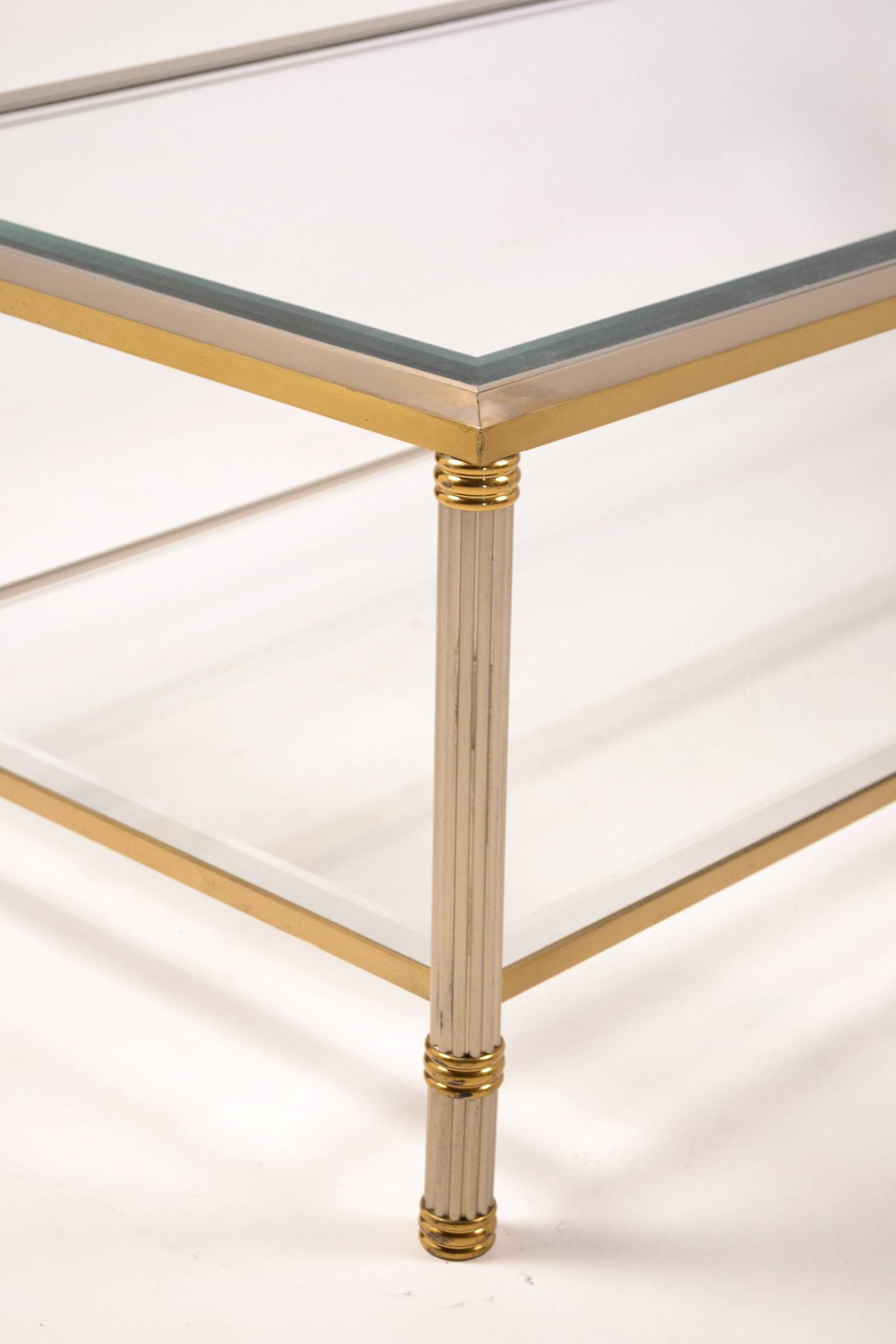 French Vintage Brass & Chrome Coffee Table - Jean Marc Fray regarding Chrome Coffee Tables (Image 15 of 30)