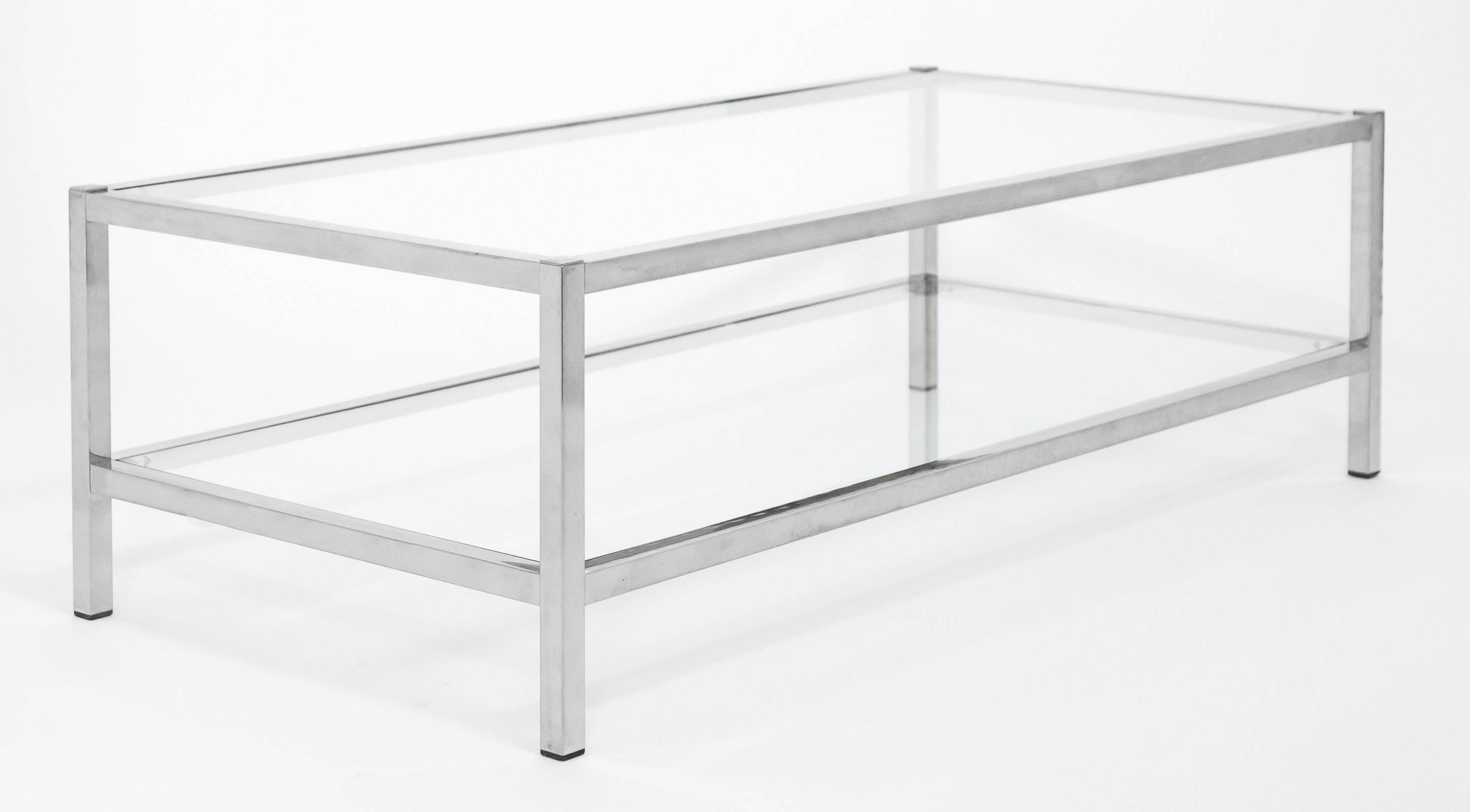French Vintage Chrome And Glass Coffee Table - Jean Marc Fray in Glass And Chrome Coffee Tables (Image 11 of 30)