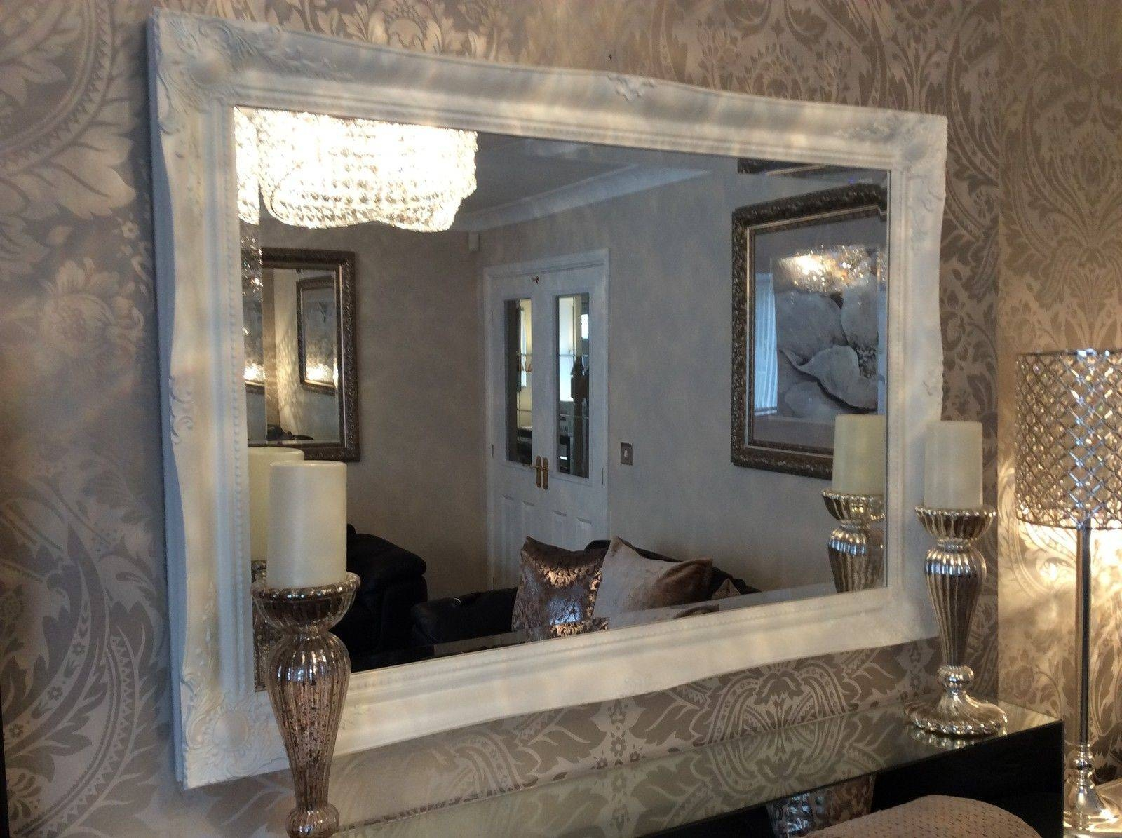 French White Shabby Chic Ornate Decorative Over Mantle Wall Mirror for Shabby Chic Large Wall Mirrors (Image 3 of 25)