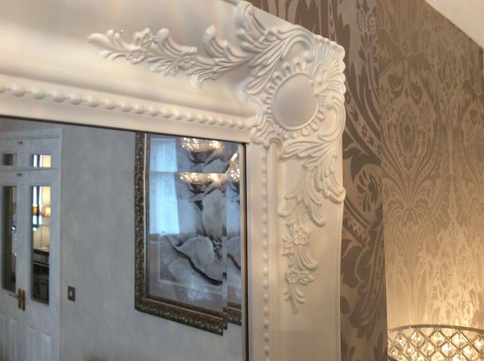 French White Shabby Chic Ornate Decorative Over Mantle Wall Mirror with Shabby Chic Large Wall Mirrors (Image 4 of 25)