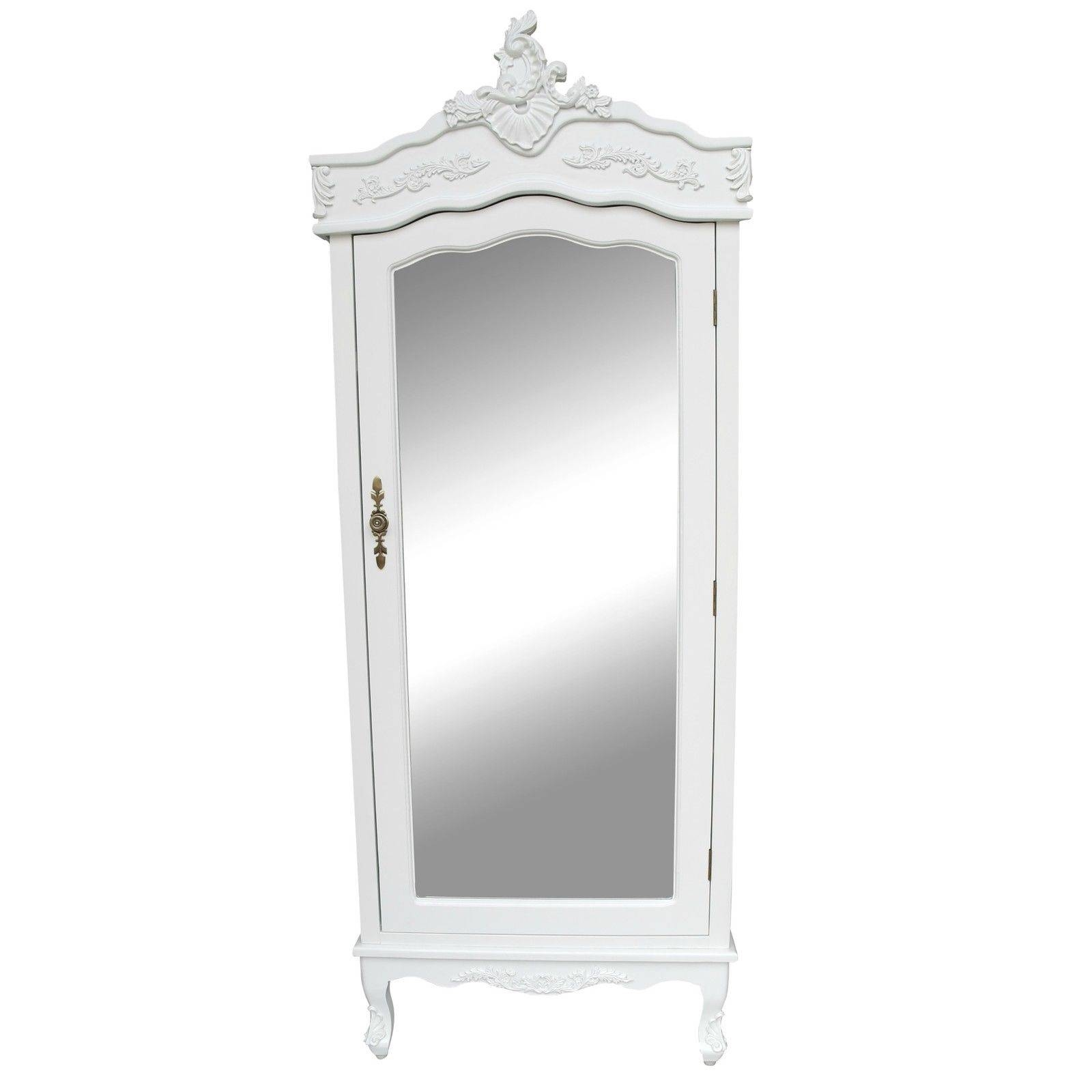 French White Single Door Armoire With Mirrored Door Furniture - La intended for Single White Wardrobes With Mirror (Image 3 of 15)