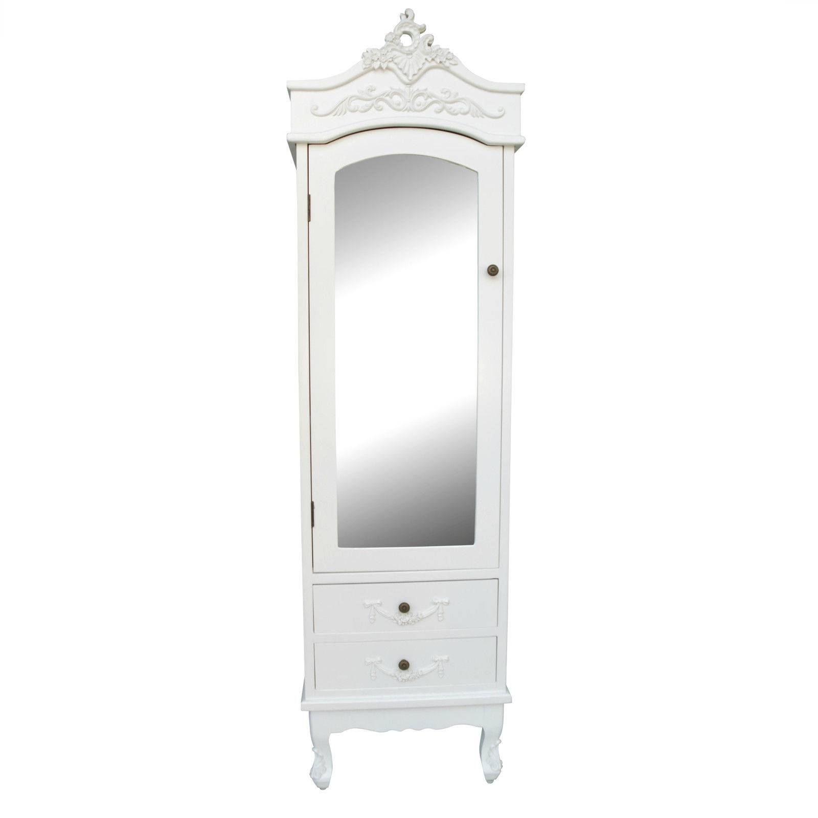 French White Single Door White Armoire Furniture – La Maison Chic In Single French Wardrobes (View 4 of 15)