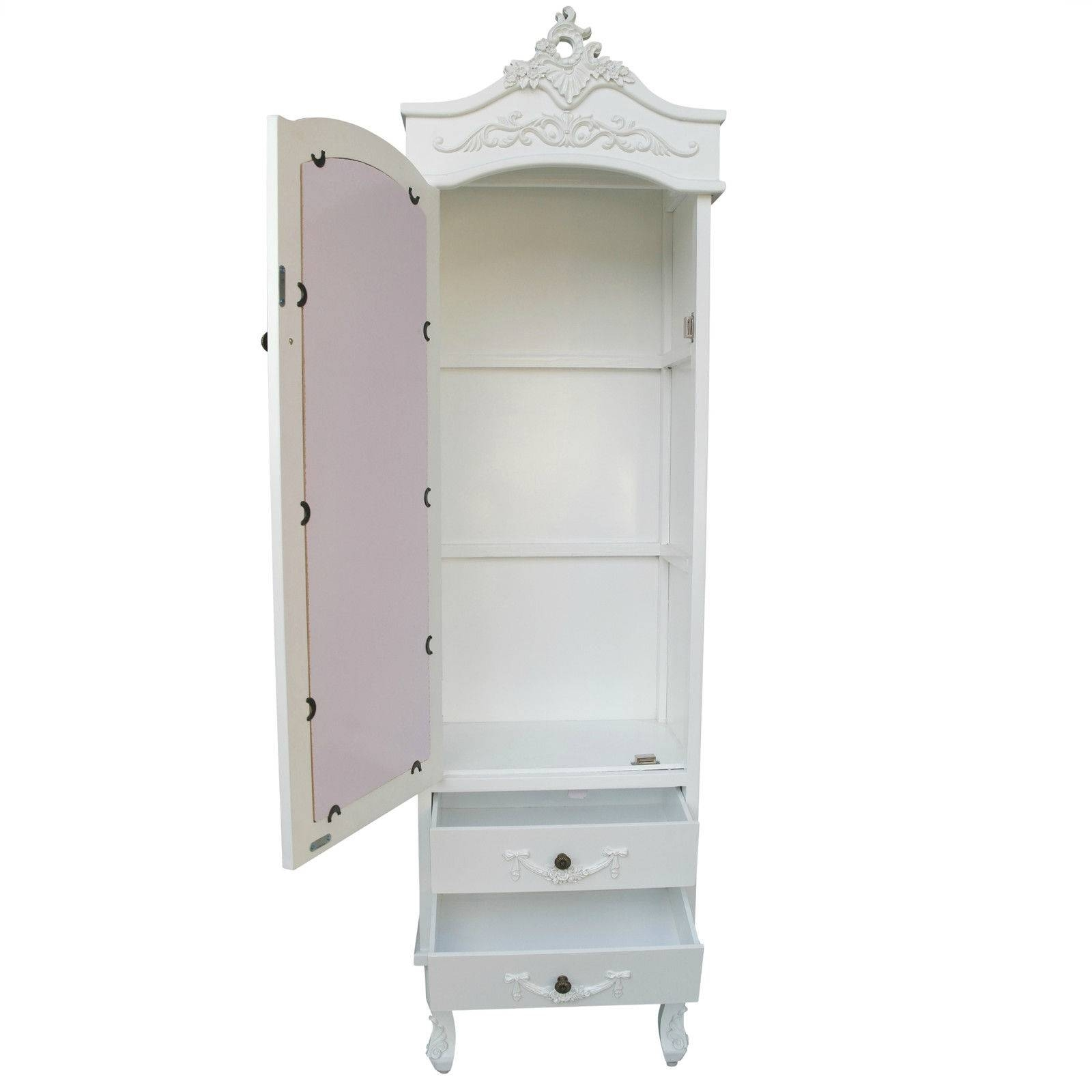 French White Single Door White Armoire Furniture – La Maison Chic With Single French Wardrobes (View 5 of 15)