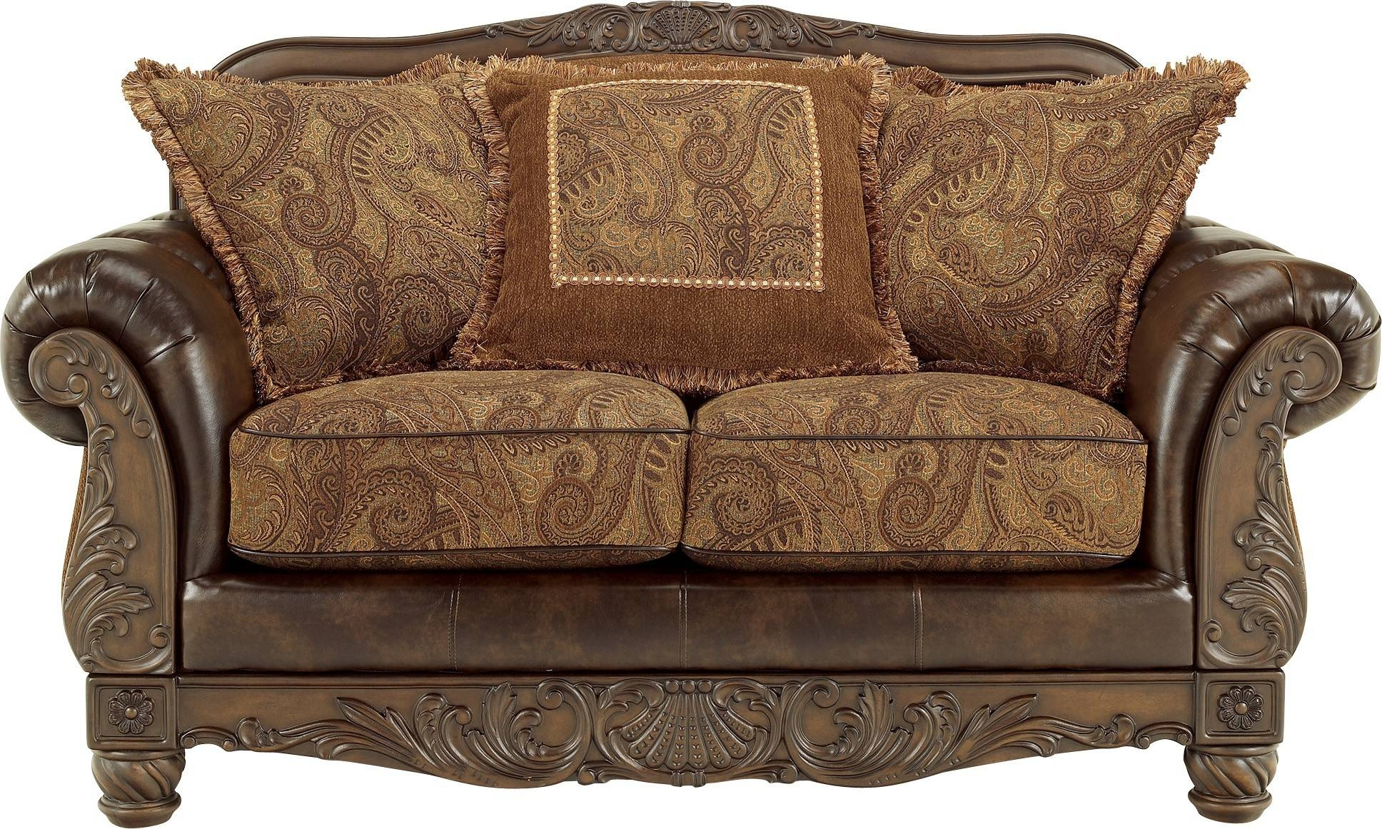 Fresco Durablend - Antique Loveseatashley Furniture inside Antique Sofa Chairs (Image 12 of 30)