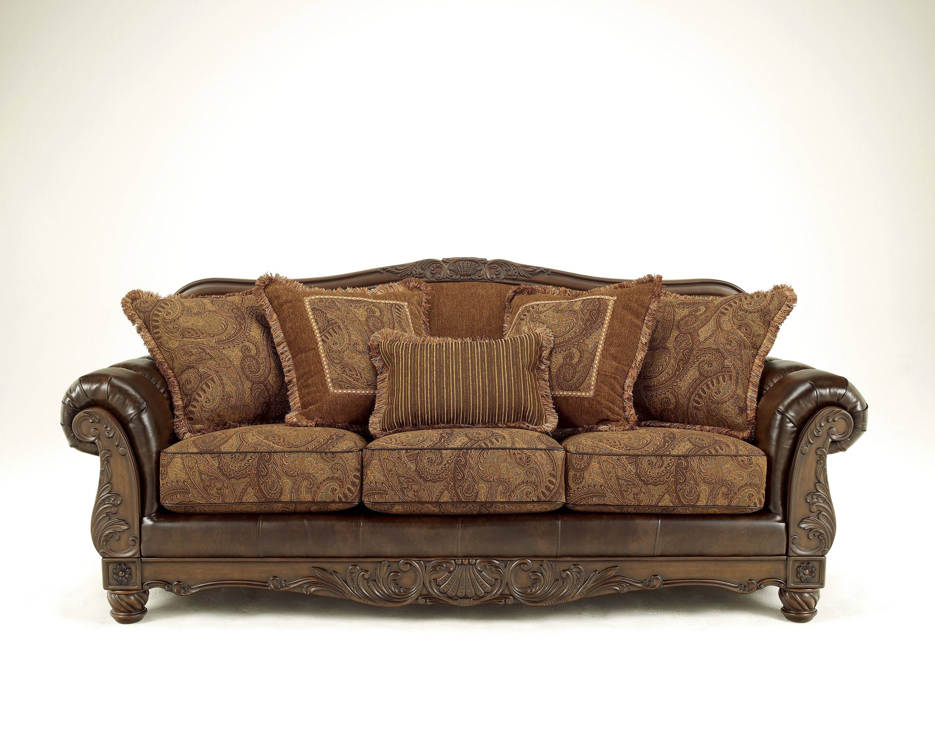 Fresco Durablend Traditional Antique Fabric Sofa | Living Rooms intended for Antique Sofa Chairs (Image 14 of 30)