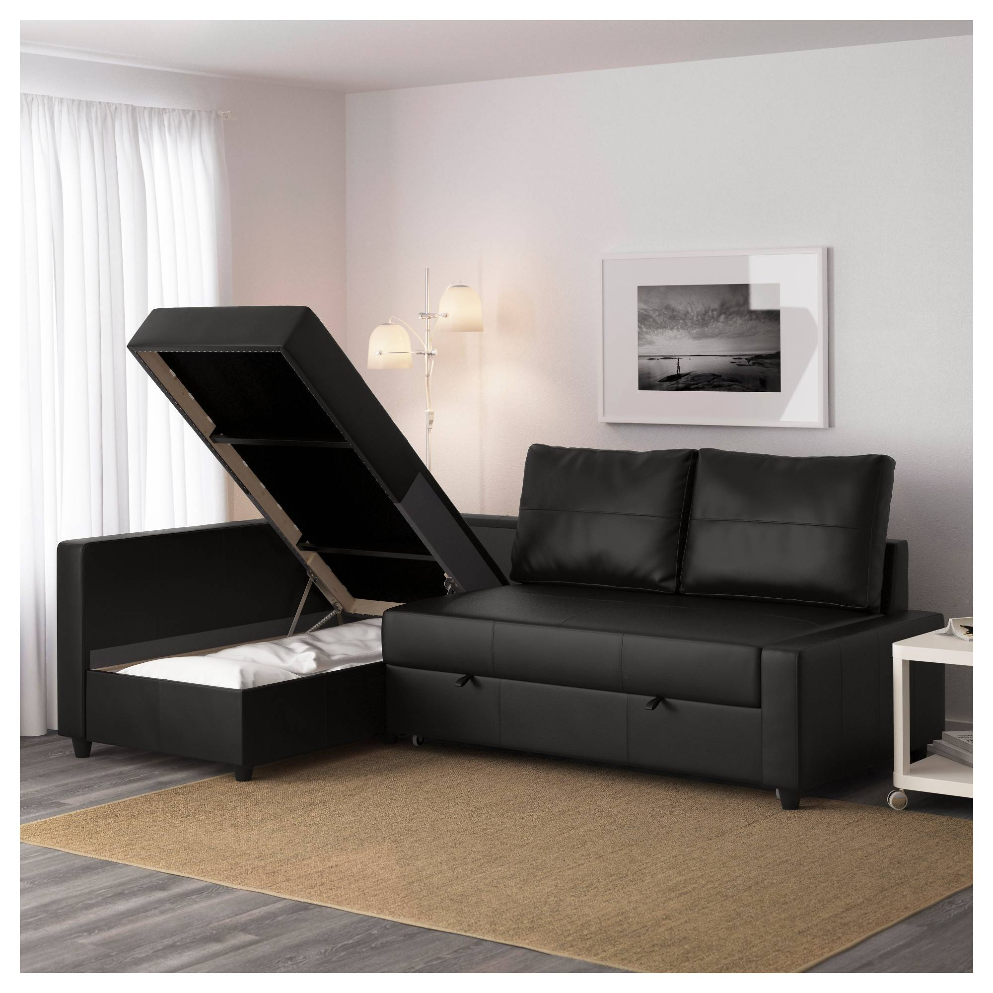 Friheten Corner Sofa-Bed With Storage Bomstad Black - Ikea throughout Corner Sofa Leather (Image 8 of 30)