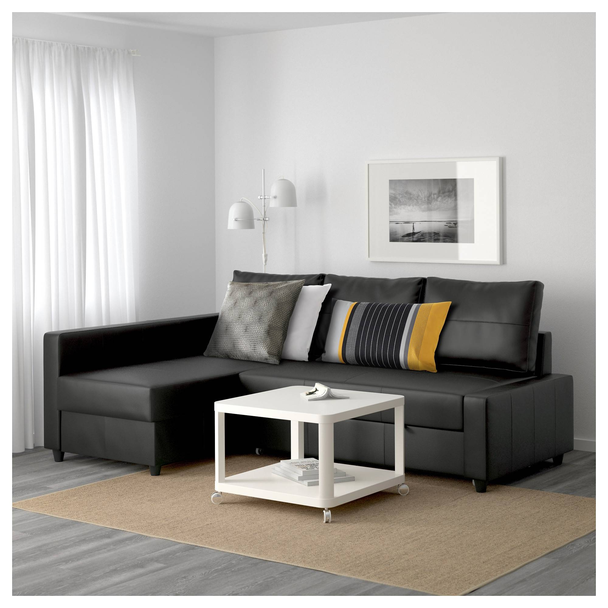 Friheten Corner Sofa-Bed With Storage Bomstad Black - Ikea within Storage Sofas Ikea (Image 2 of 25)