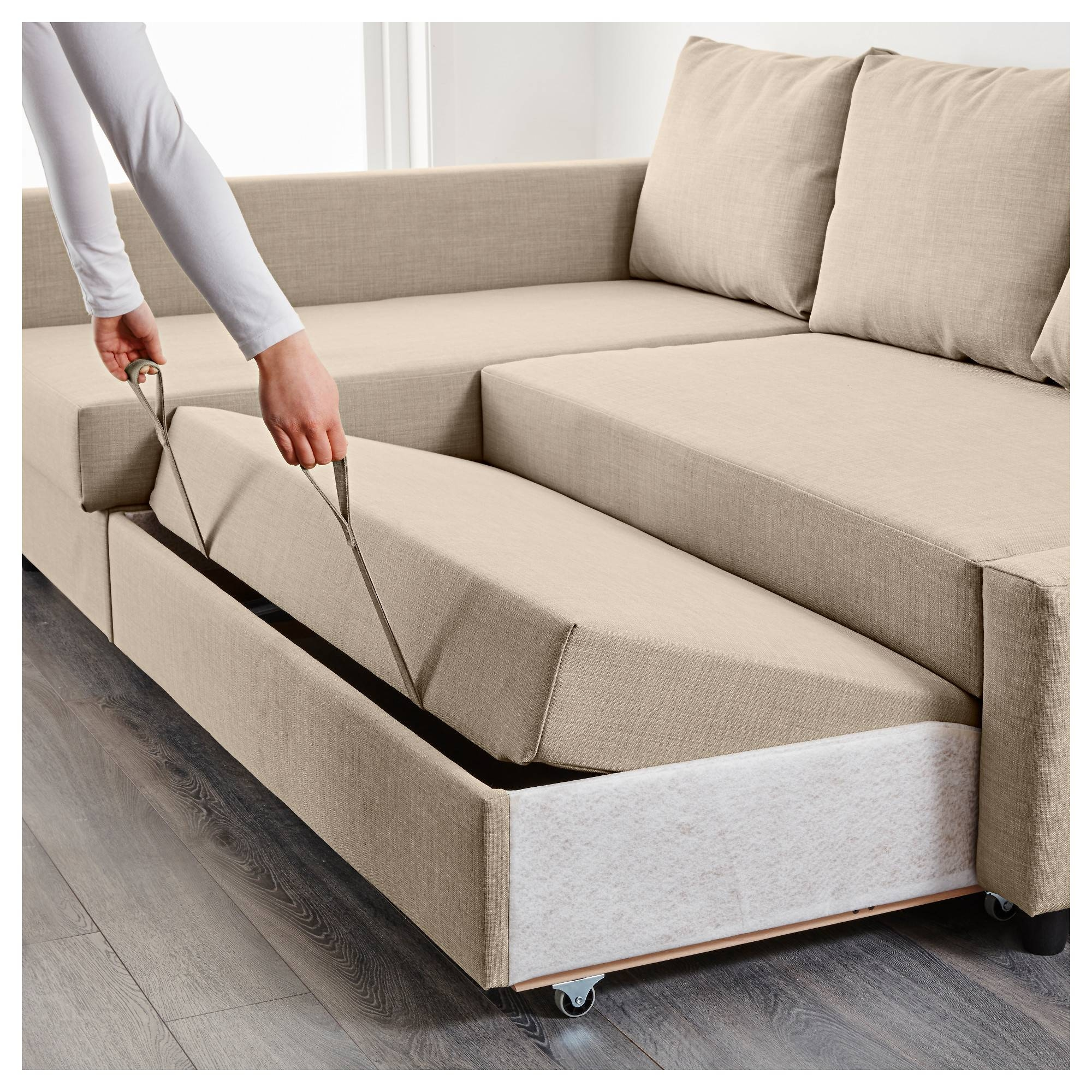 Friheten Corner Sofa-Bed With Storage Skiftebo Beige - Ikea pertaining to Ikea Sofa Storage (Image 2 of 25)