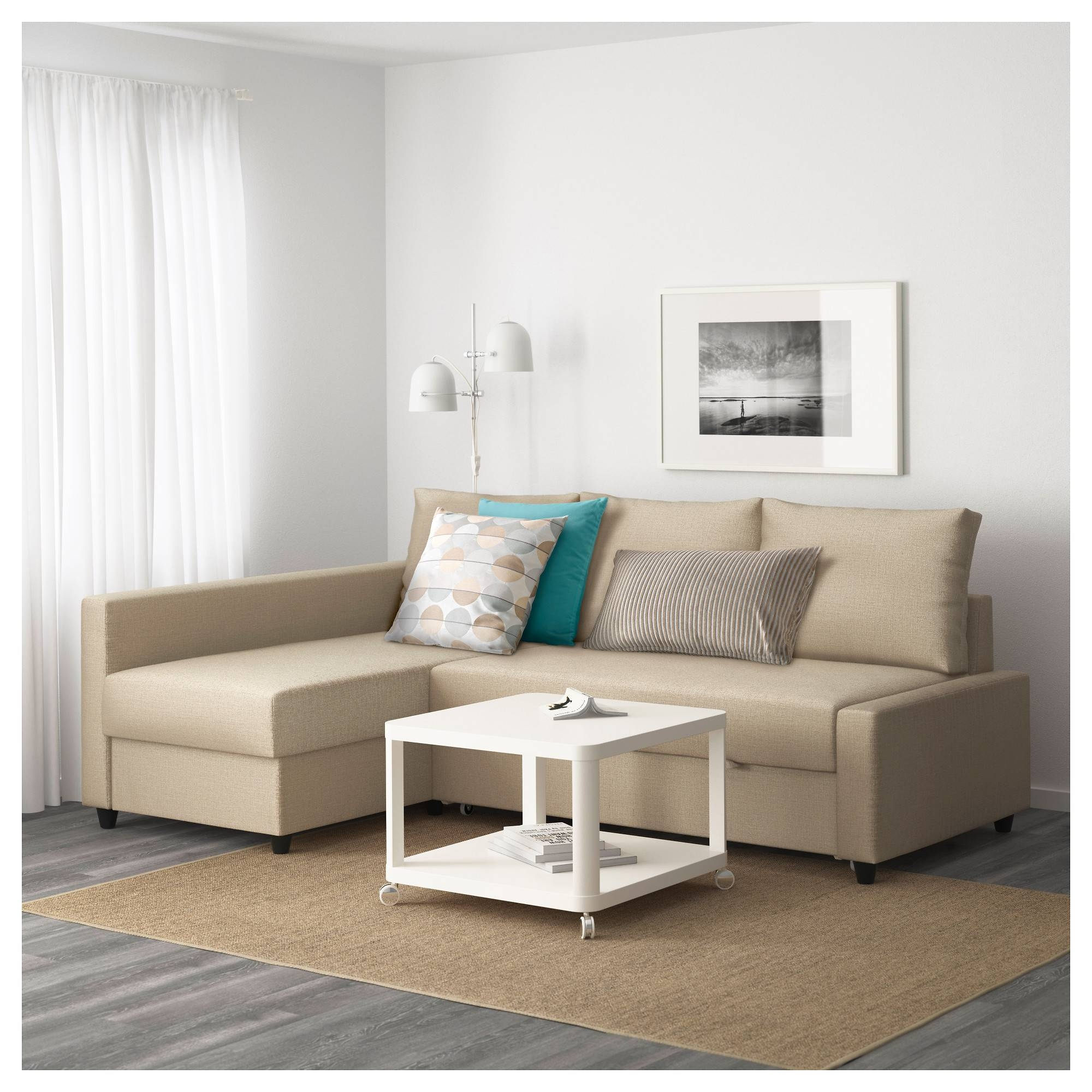 Friheten Corner Sofa-Bed With Storage Skiftebo Beige - Ikea regarding Ikea Sofa Storage (Image 3 of 25)