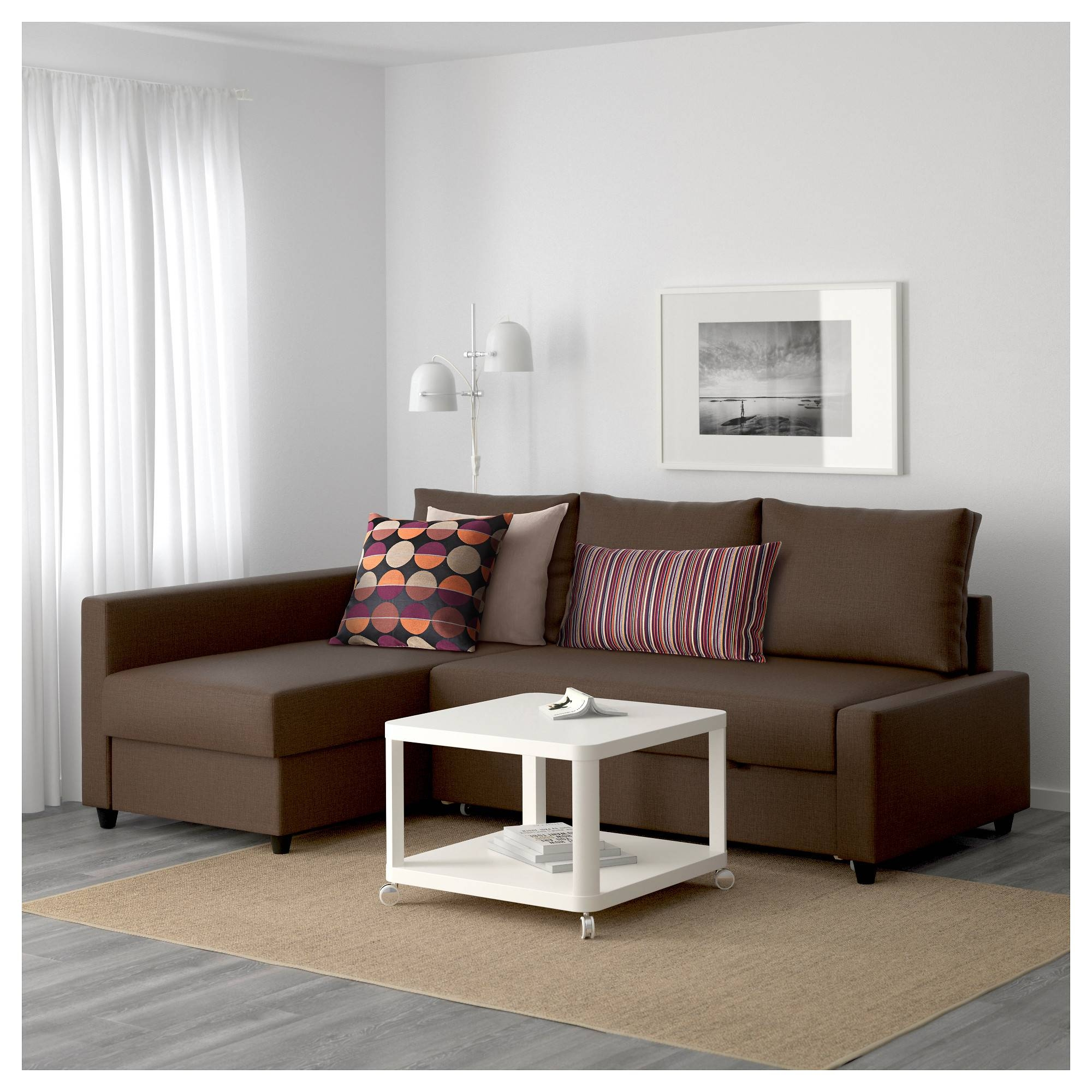 Friheten Corner Sofa-Bed With Storage Skiftebo Brown - Ikea with Ikea Sofa Storage (Image 4 of 25)