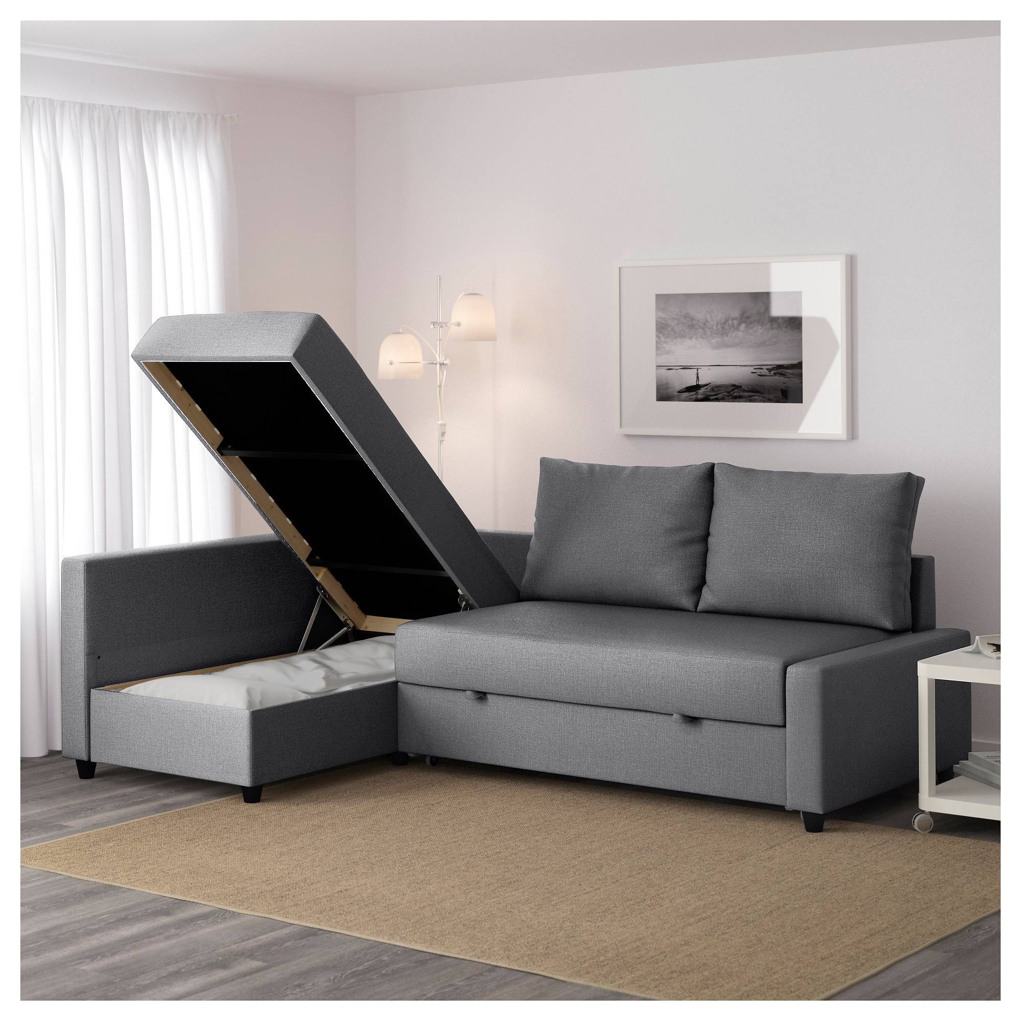 Friheten Corner Sofa-Bed With Storage Skiftebo Dark Grey - Ikea regarding Ikea Sofa Storage (Image 5 of 25)